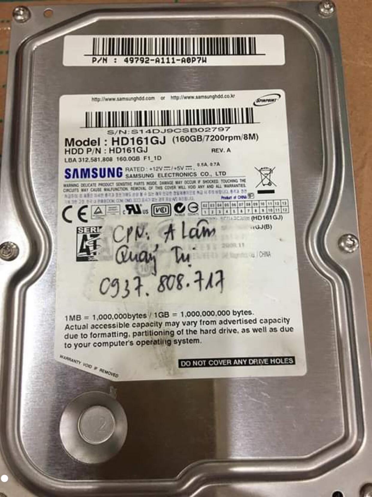 Lấy dữ liệu ổ cứng Samsung 160GB không nhận tại Quảng Trị 07/10/2019 - cuumaytinh
