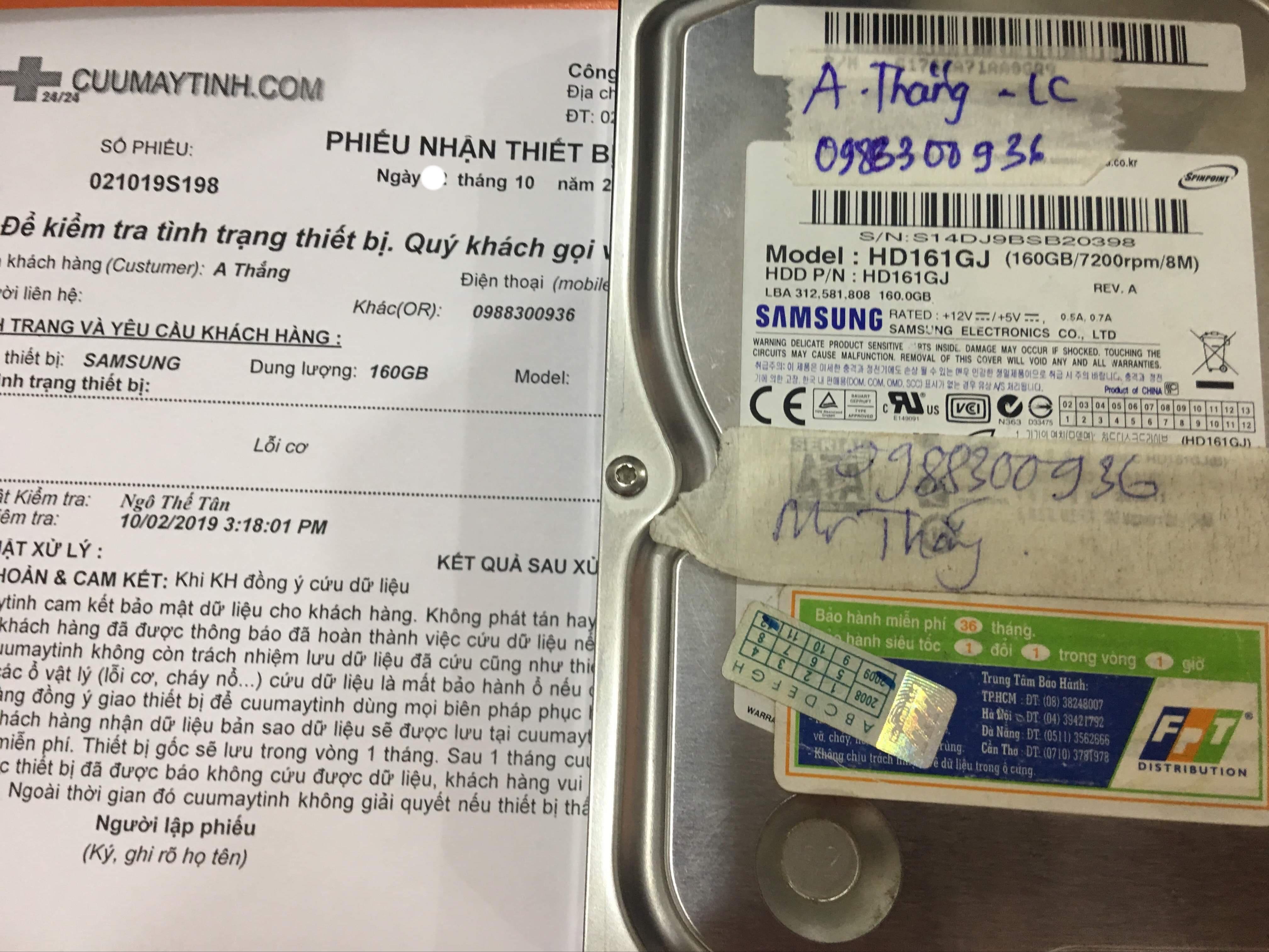 Lấy dữ liệu ổ cứng Samsung 160GB lỗi cơ 26/10/2019 - cuumaytinh