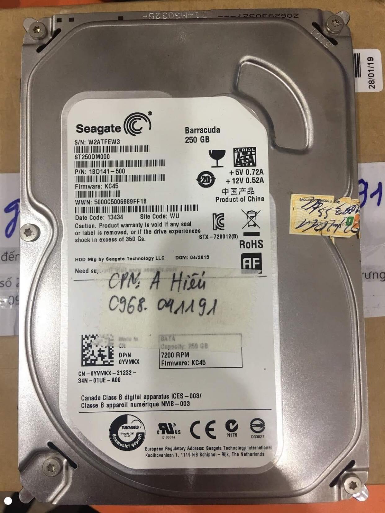 Lấy dữ liệu ổ cứng Seagate 250GB lỗi đầu đọc tại Sơn Lan 11/10/2019 - cuumaytinh