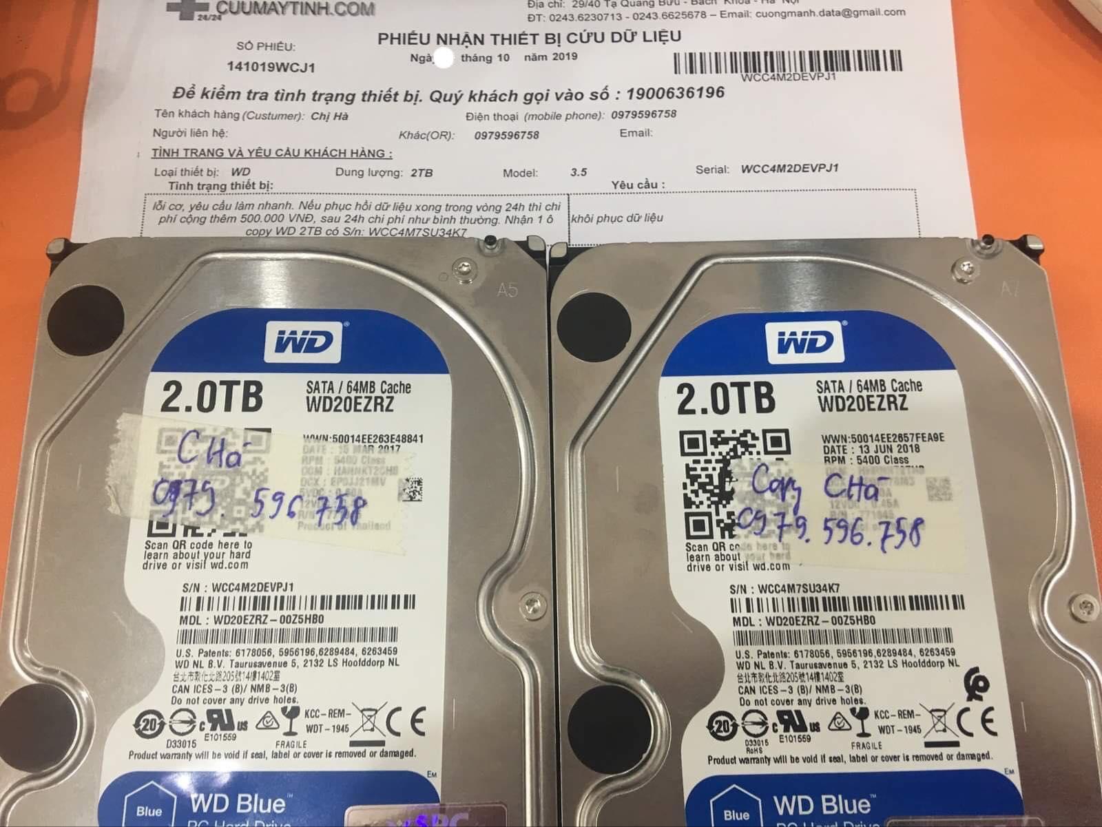 Lấy dữ liệu ổ cứng Western 2TB lỗi cơ 15/10/2019 - cuumaytinh