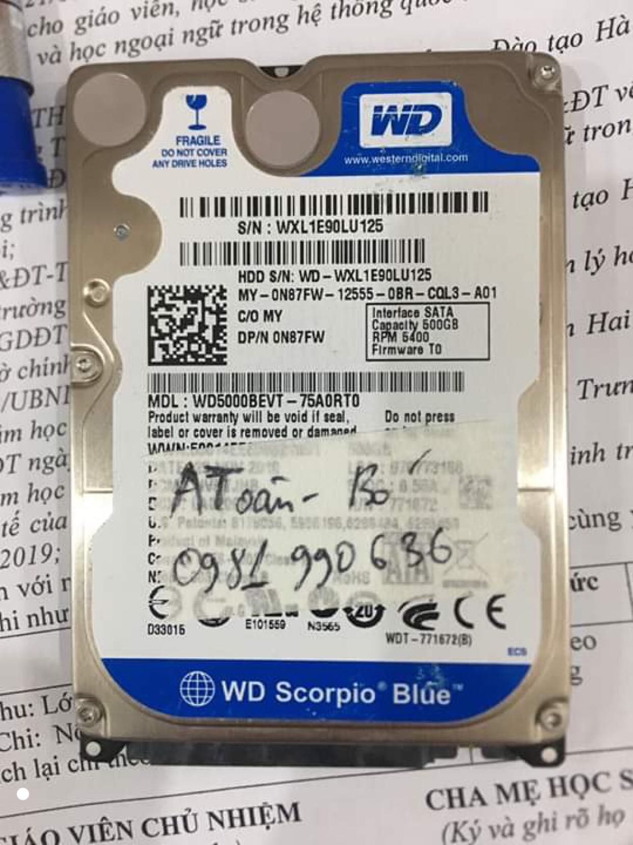 Lấy dữ liệu ổ cứng Western 500GB bó cơ 03/10/2019 - cuumaytinh