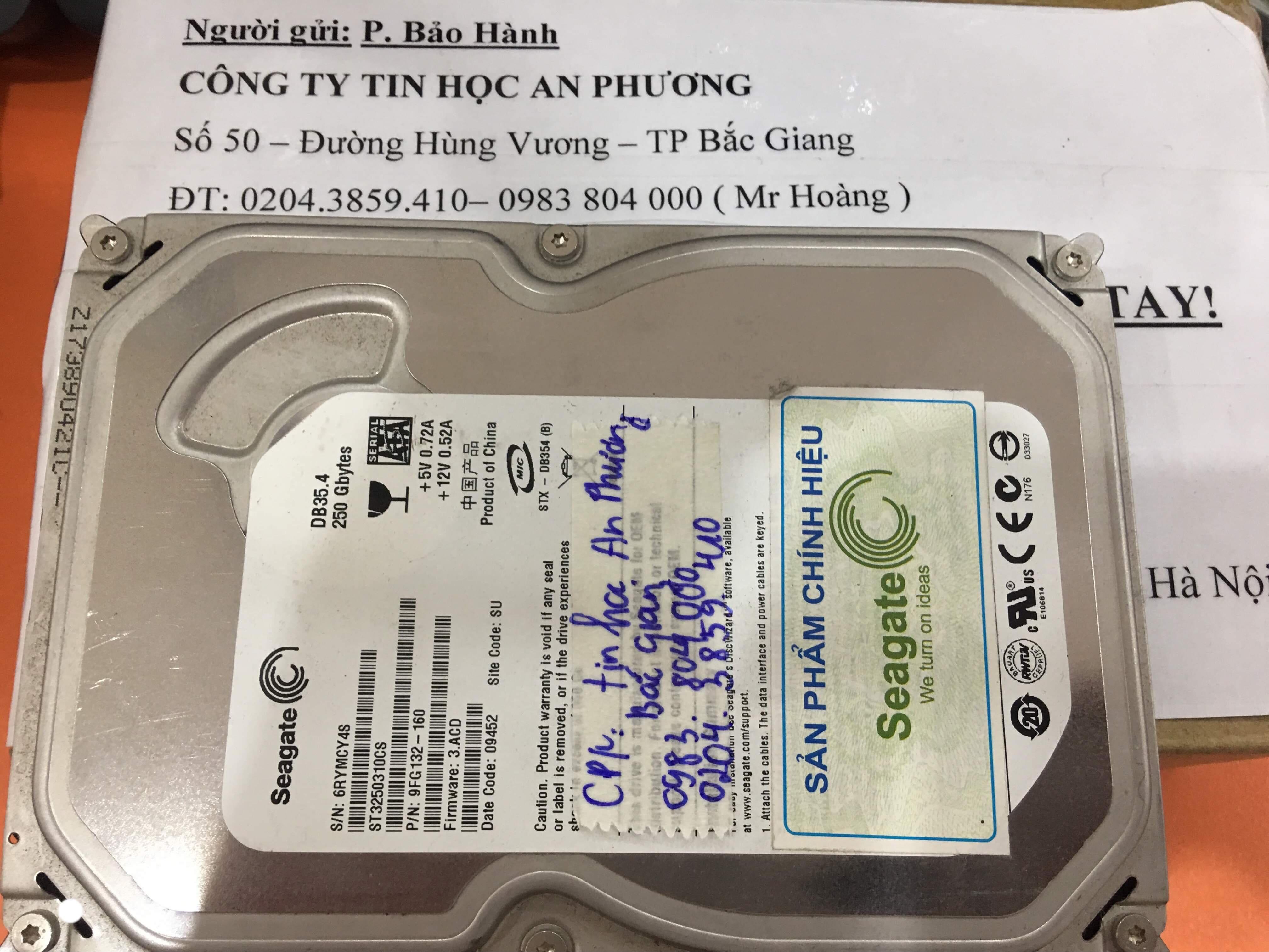 Lấy dữ liệu ổ cứng Western 250GB mất dữ liệu tại Bắc Giang 22/10/2019 - cuumaytinh