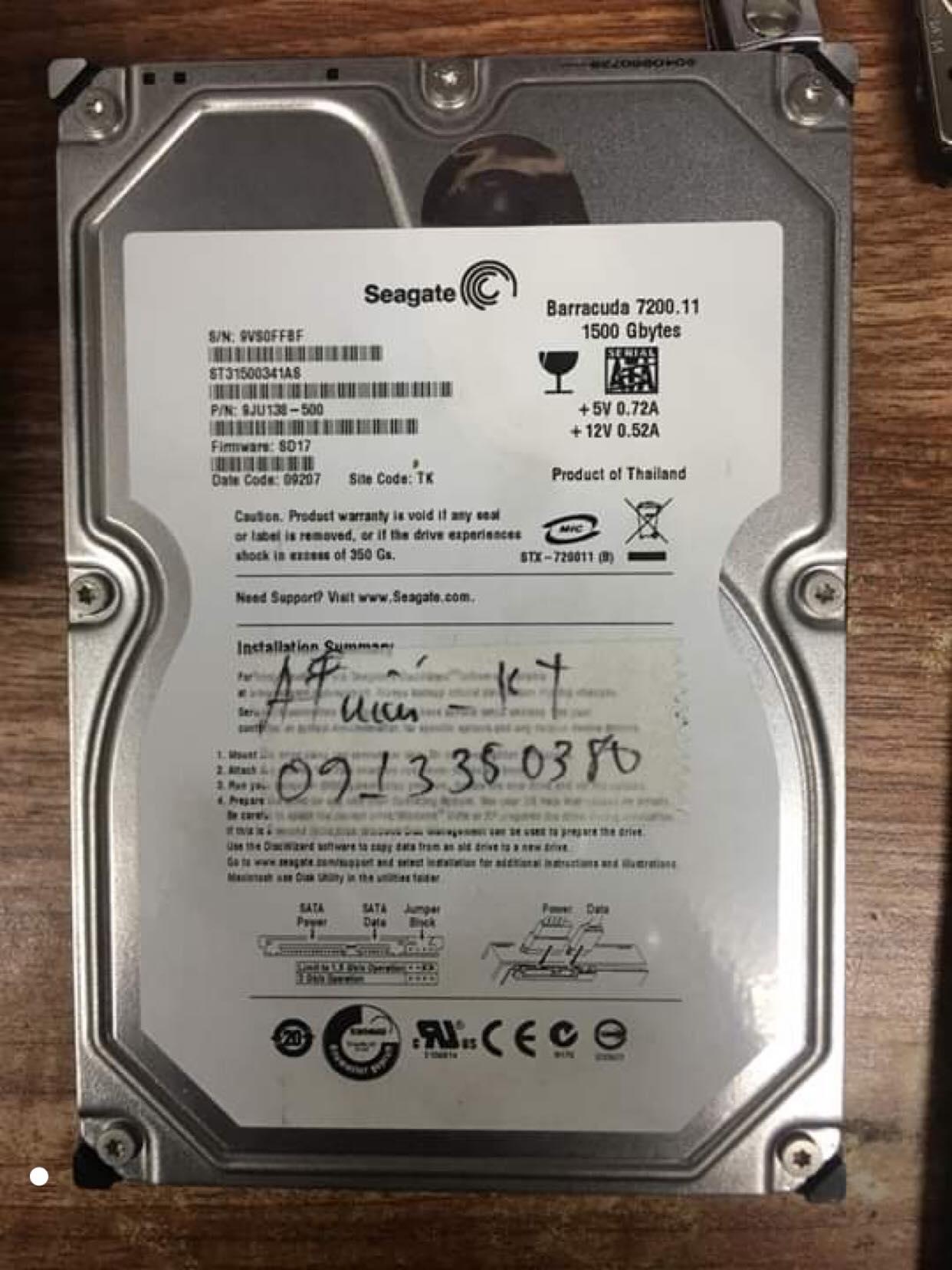 Phục hồi dữ liệu ổ cứng Seagate 1,5TB đầu đọc kém 05/10/2019 - cuumaytinh