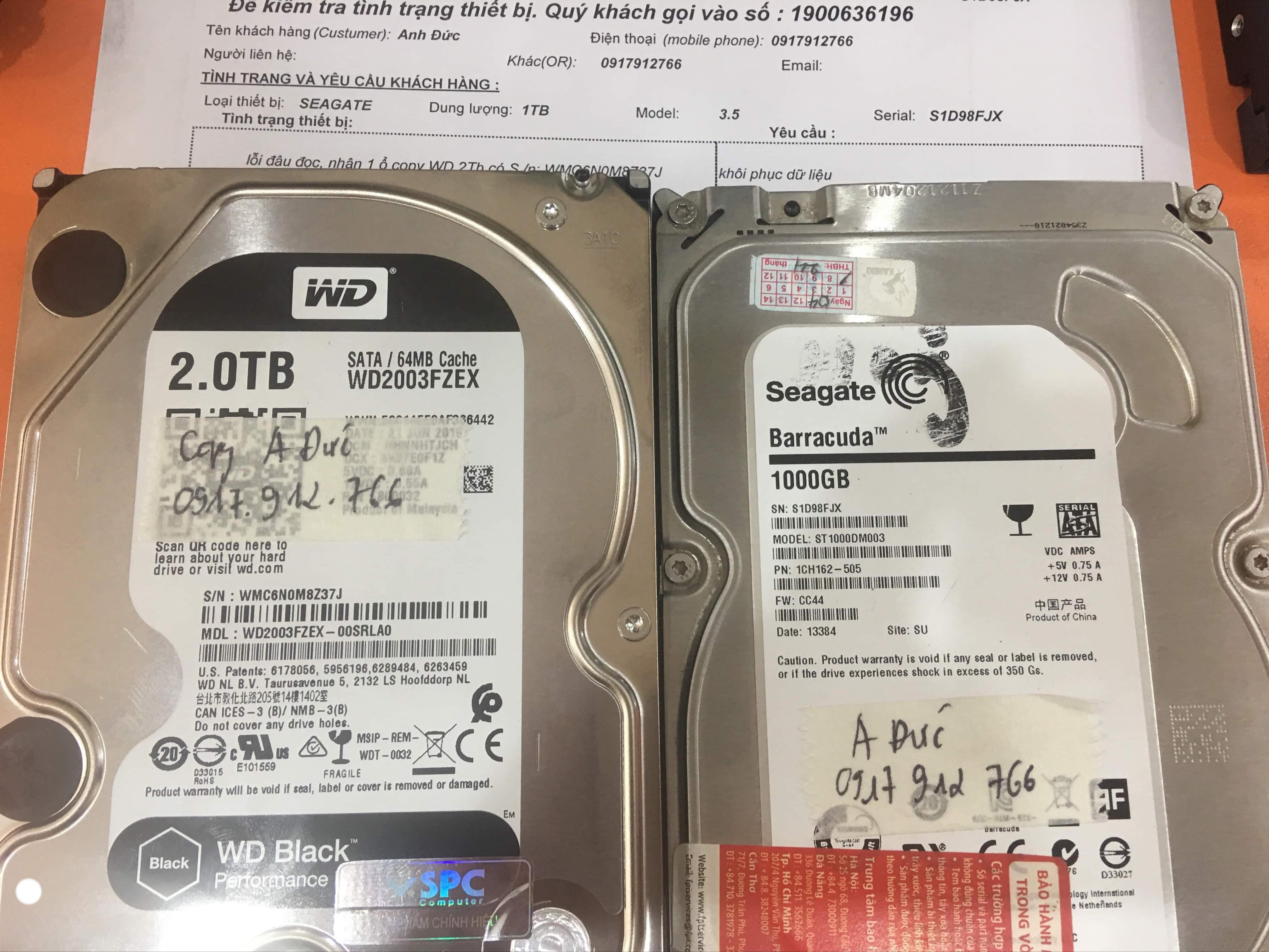 Phục hồi dữ liệu ổ cứng Seagate 1TB lỗi đầu đọc 16/10/2019 - cuumaytinh
