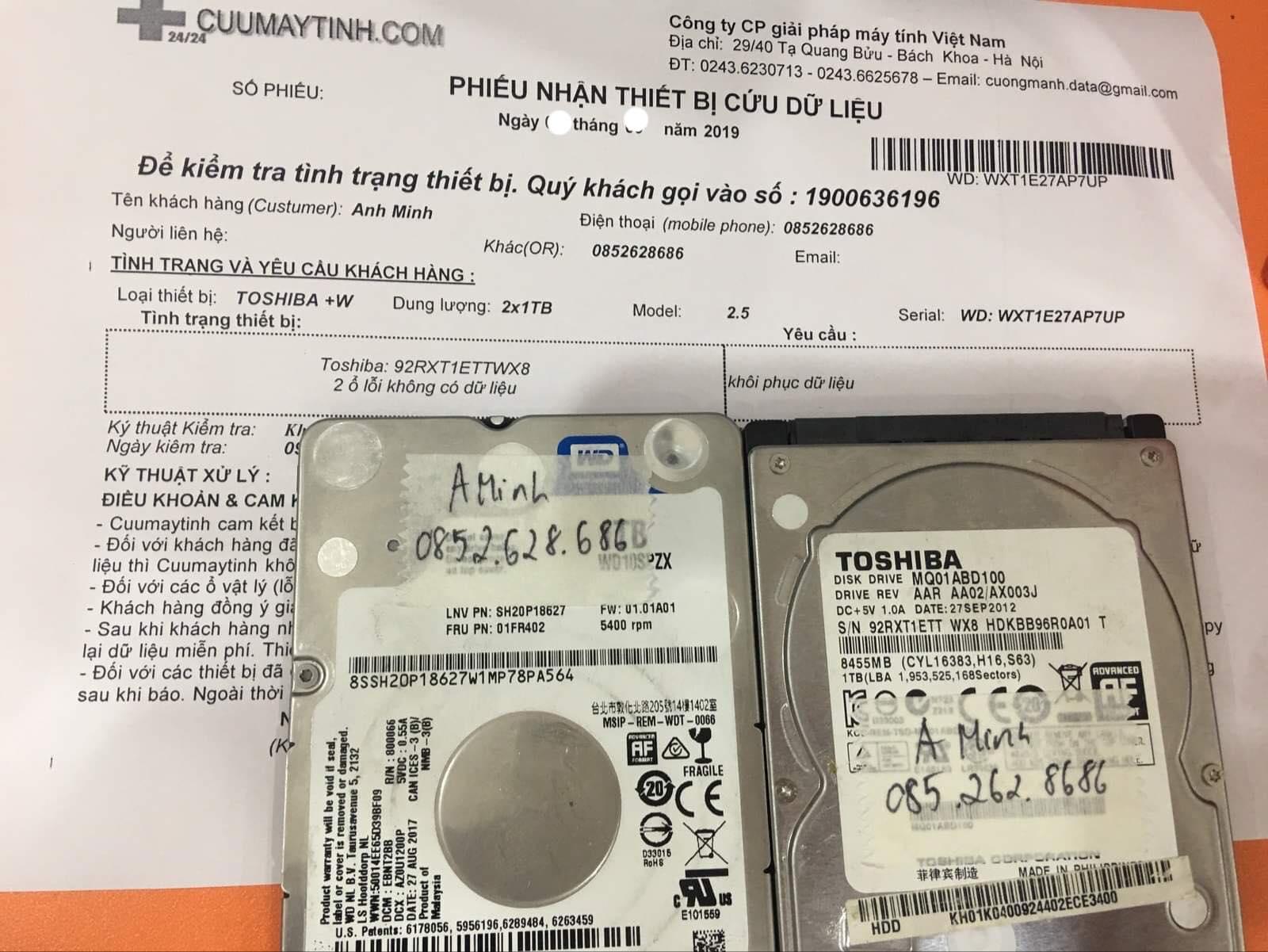 Phục hồi dữ liệu ổ cứng Western 1TB không nhận 18/10/2019 - cuumaytinh