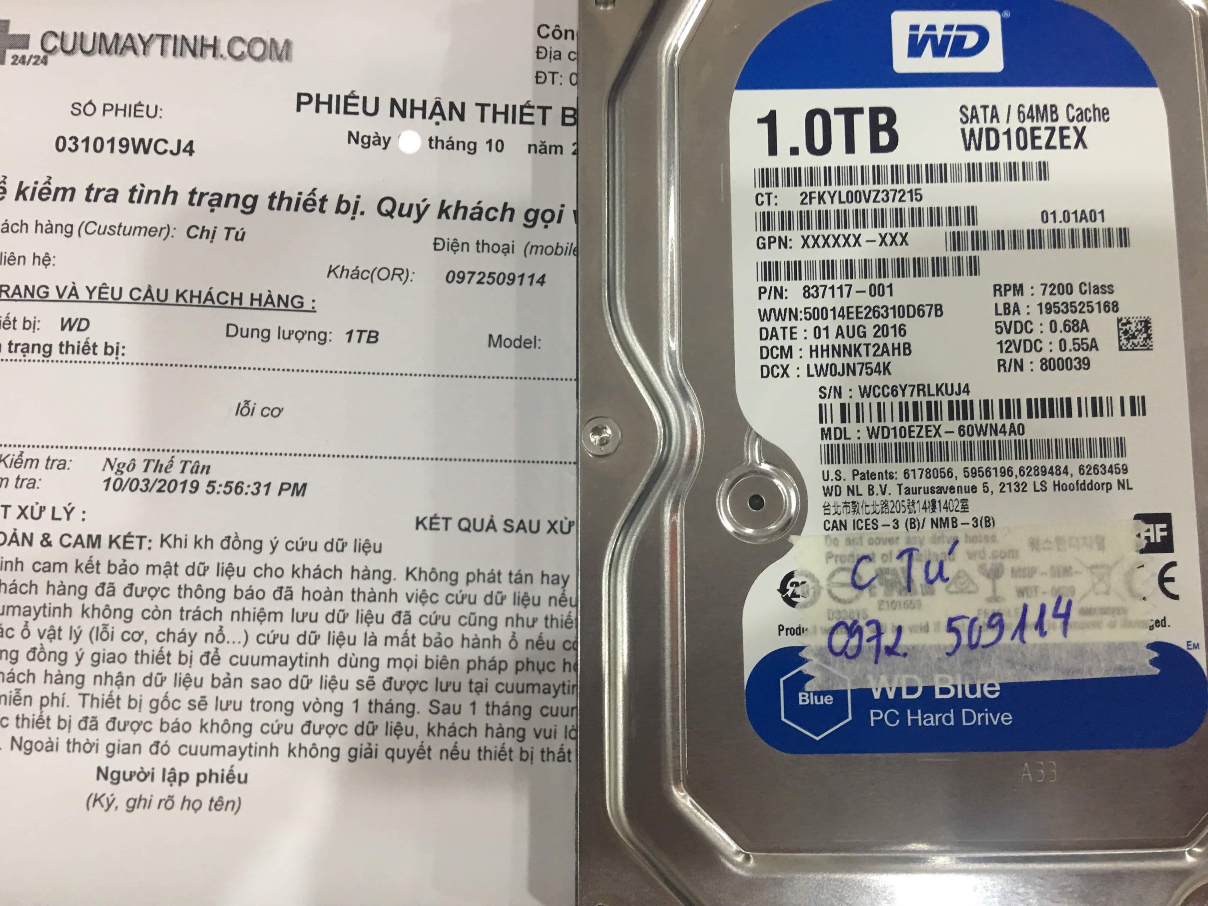 Phục hồi dữ liệu ổ cứng Western 1TB lỗi cơ 07/10/2019 - cuumaytinh