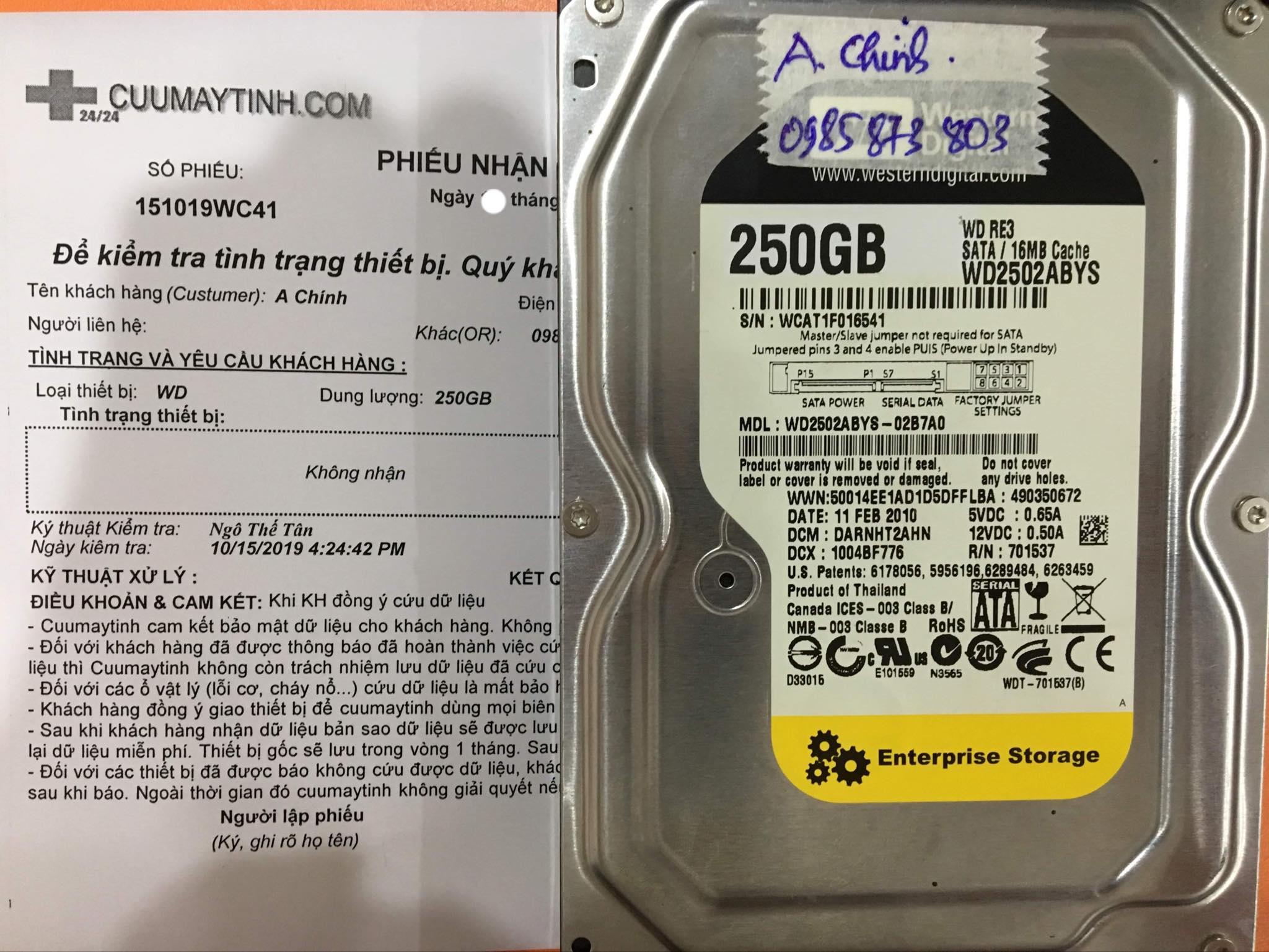 Phục hồi dữ liệu ổ cứng Western 250GB lỗi cơ 29/10/2019 - cuumaytinh