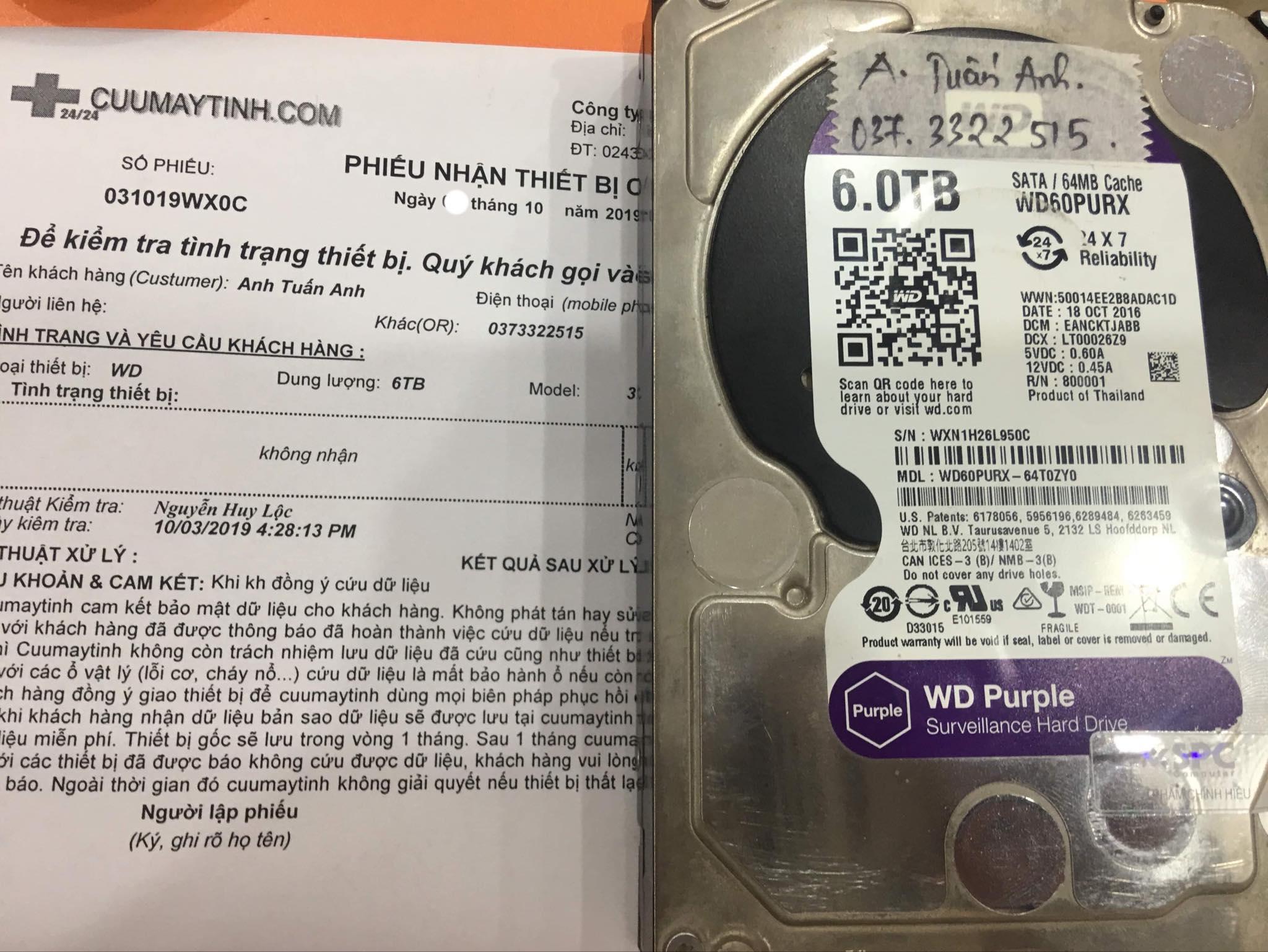 Phục hồi dữ liệu ổ cứng Western 6TB không nhận 14/10/2019 - cuumaytinh