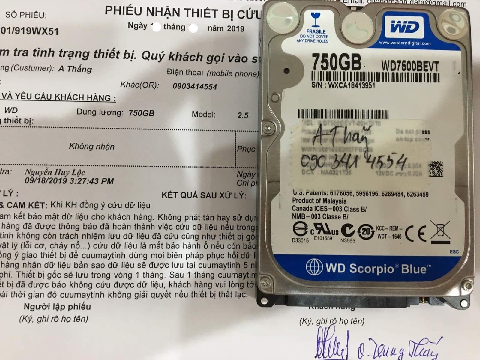 Phục hồi dữ liệu ổ cứng Western 750GB không nhận 01/10/2019 - cuumaytinh