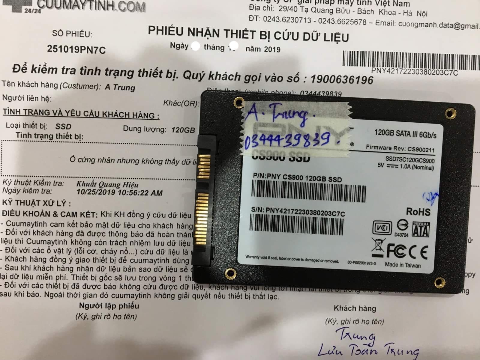 Cứu dữ liệu ổ cứng SSD PNY 120GB mất dữ liệu 05/11/2019 - cuumaytinh