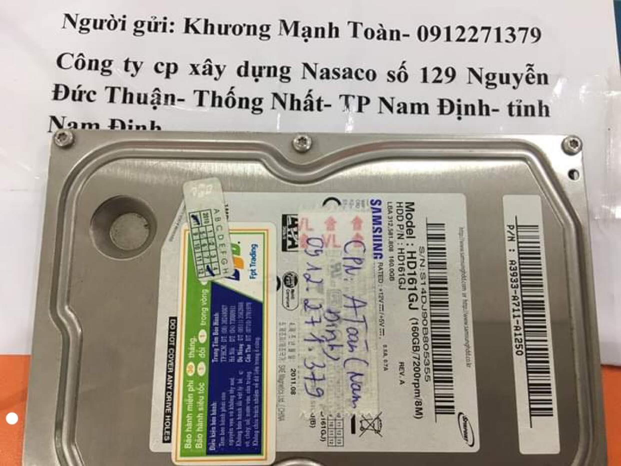 Cứu dữ liệu ổ cứng Samsung 160GB không nhận tại Nam Định 25/11/2019 - cuumaytinh