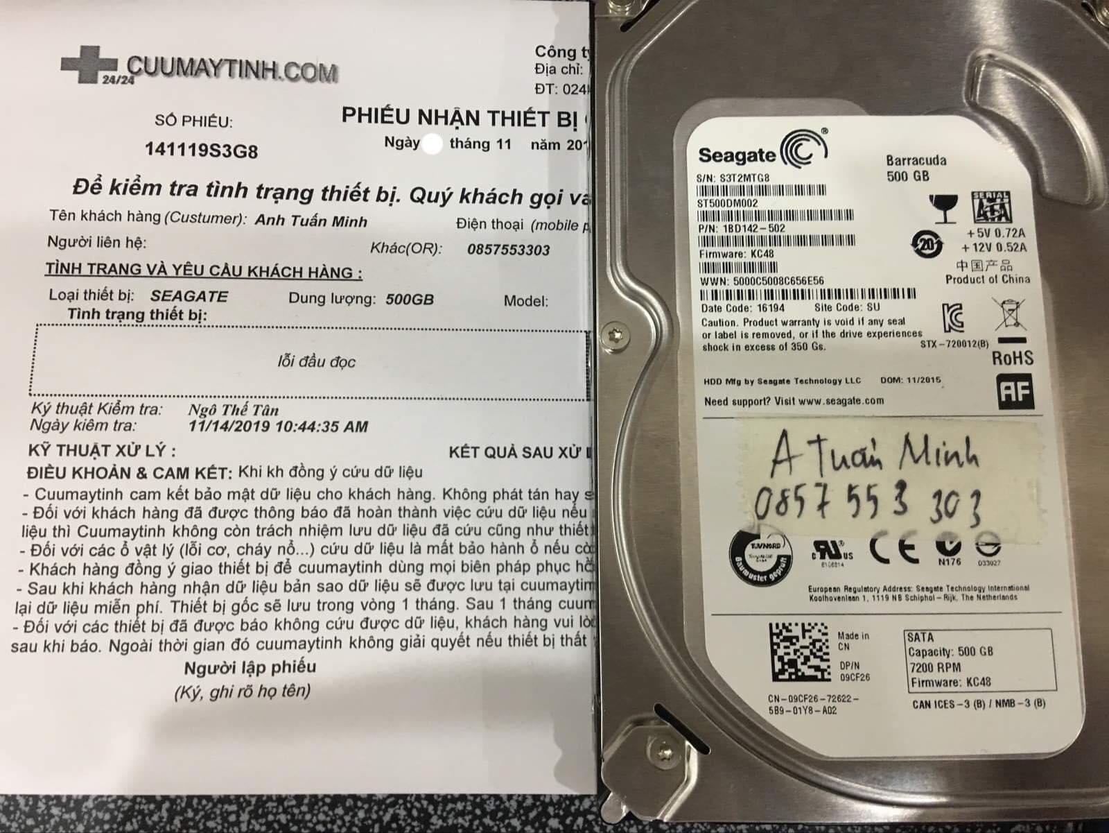 Cứu dữ liệu ổ cứng Seagate 500GB lỗi đầu đọc 19/11/2019 - cuumaytinh