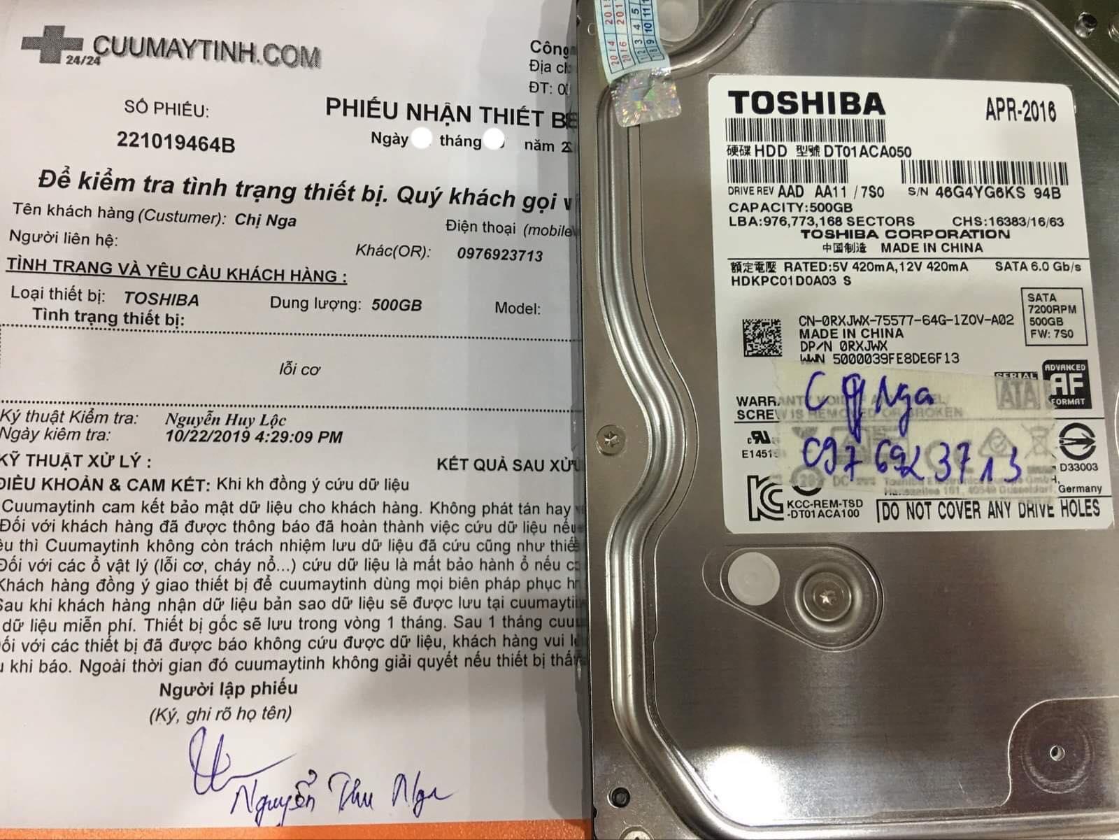 Cứu dữ liệu ổ cứng Toshiba 500GB lỗi cơ 08/11/2019 - cuumaytinh