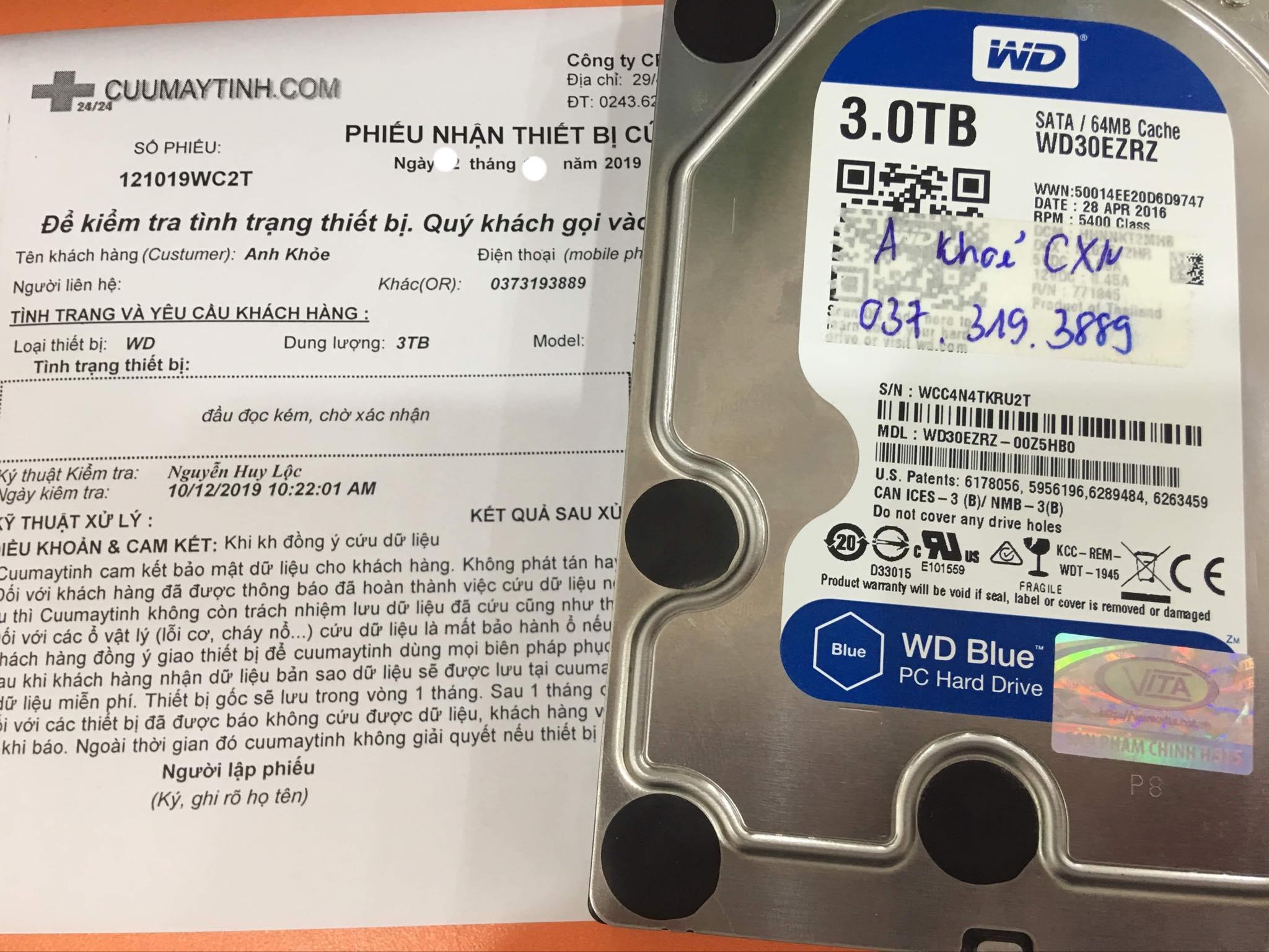 Cứu dữ liệu ổ cứng Western 3TB đầu đọc kém 18/11/2019 - cuumaytinh