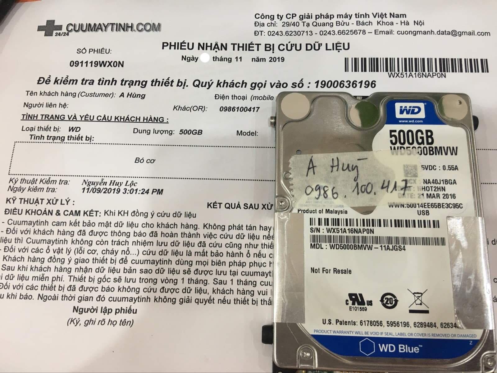 Cứu dữ liệu ổ cứng Western 500GB bó cơ 13/11/2019 - cuumaytinh