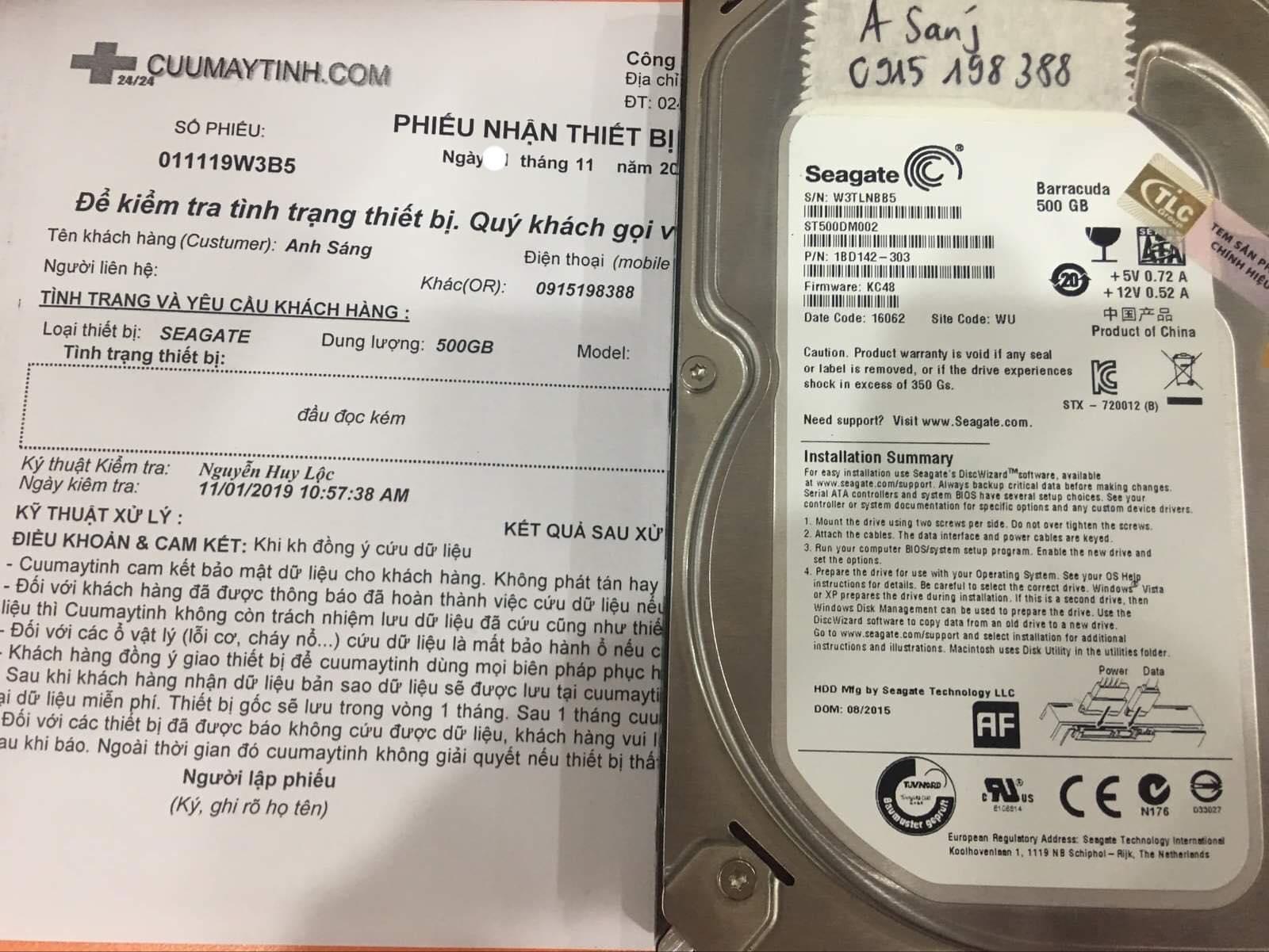 Khôi phục dữ liệu ổ cứng Seagate 500GB đầu đọc kém 06/11/2019 - cuumaytinh