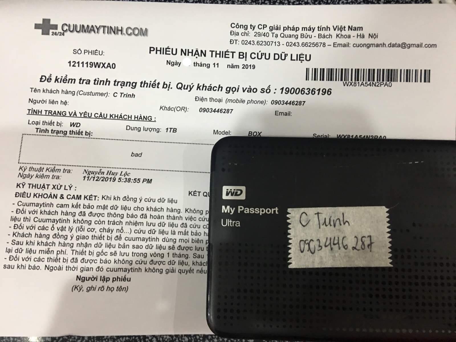 Khôi phục dữ liệu ổ cứng Western 1TB bad 19/11/2019 - cuumaytinh