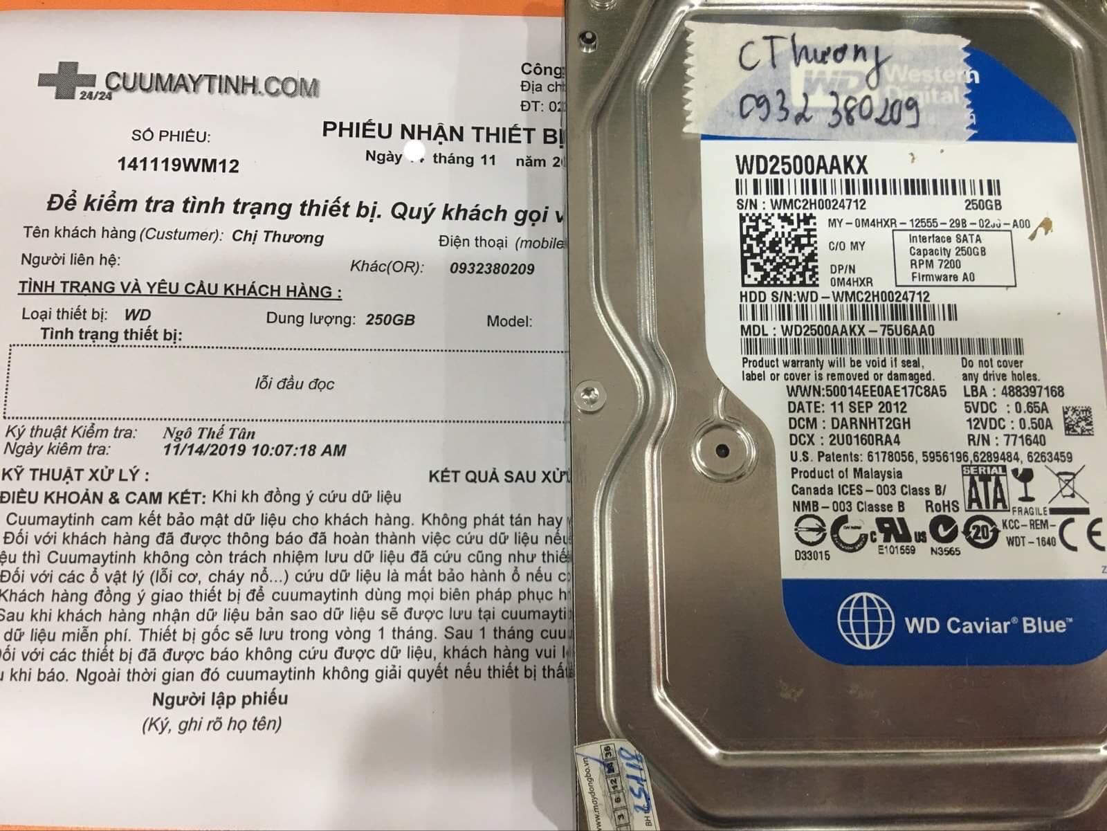 Khôi phục dữ liệu ổ cứng Western 250GB lỗi đầu đọc 23/11/2019 - cuumaytinh