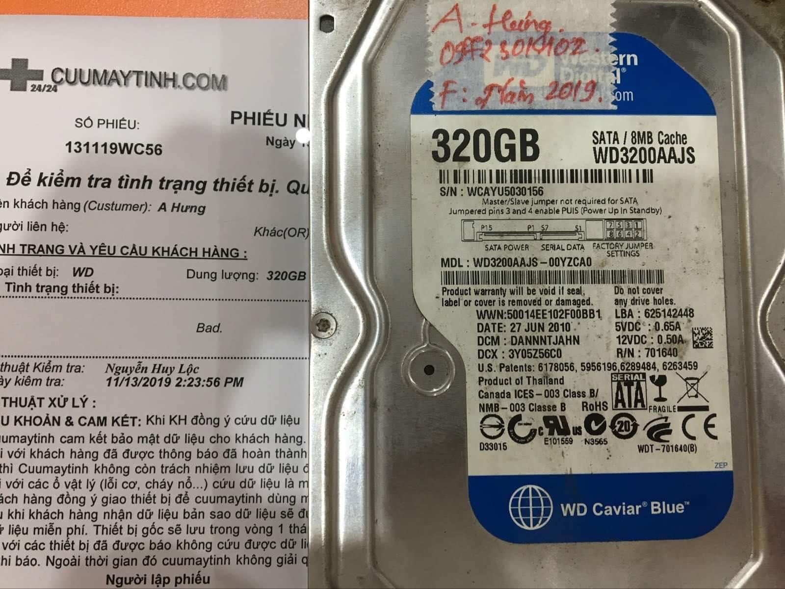 Khôi phục dữ liệu ổ cứng Western 320GB bad 16/11/2019 - cuumaytinh