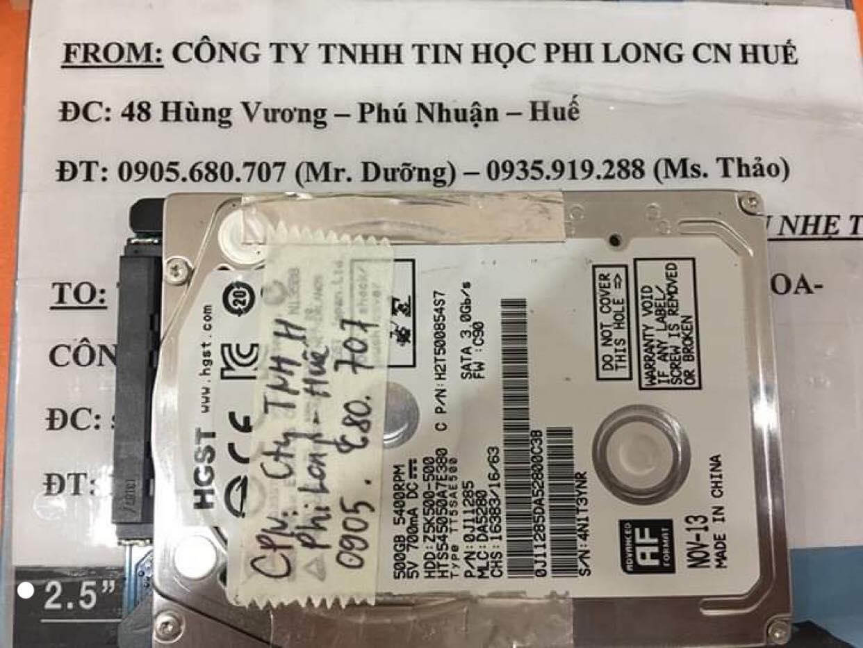 Lấy dữ liệu ổ cứng HGST 500GB không nhận tại Huế 23/11/2019 - cuumaytinh