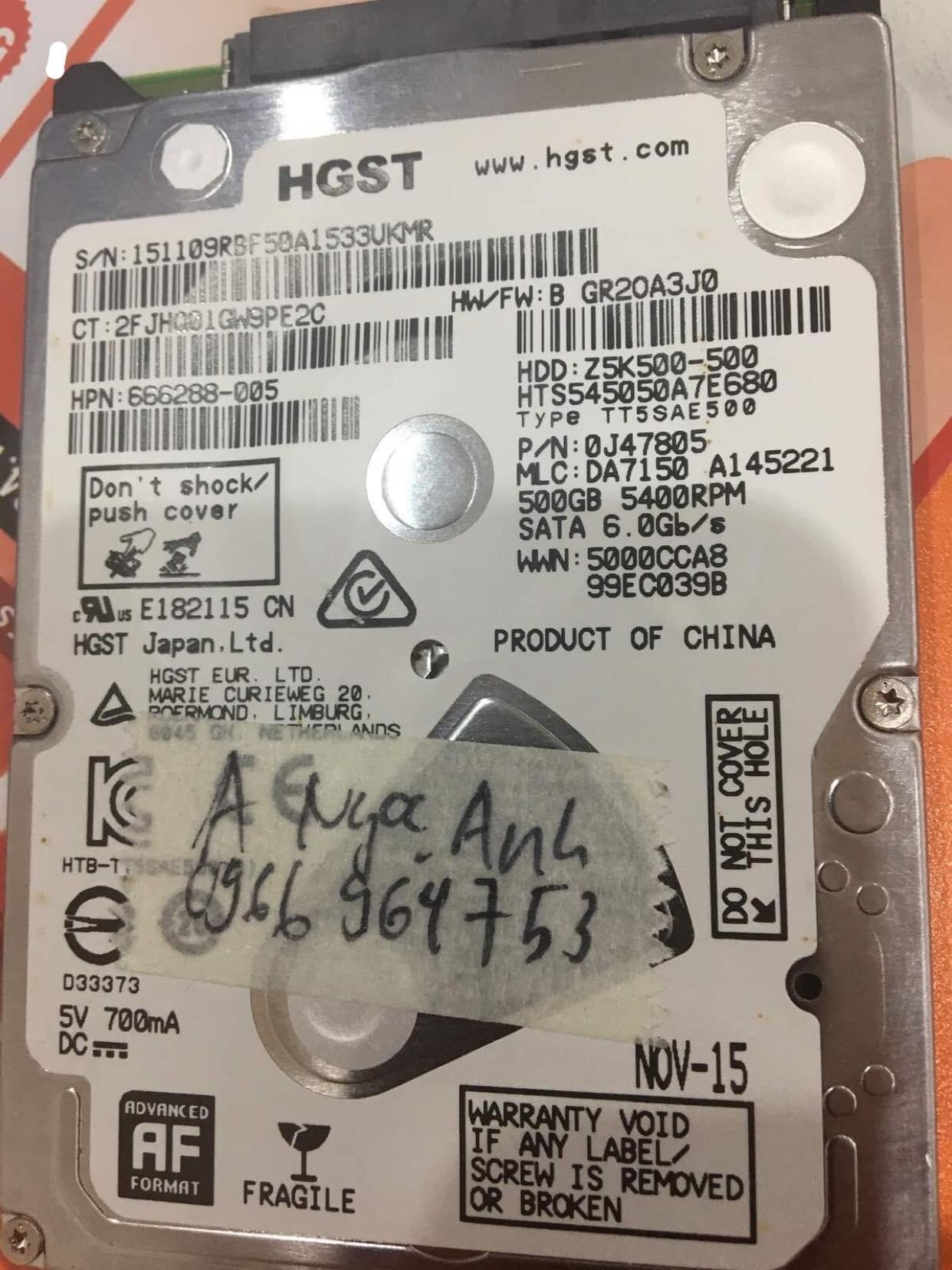 Lấy dữ liệu ổ cứng HGST 500GB lỗi đầu đọc 28/11/2019 - cuumaytinh