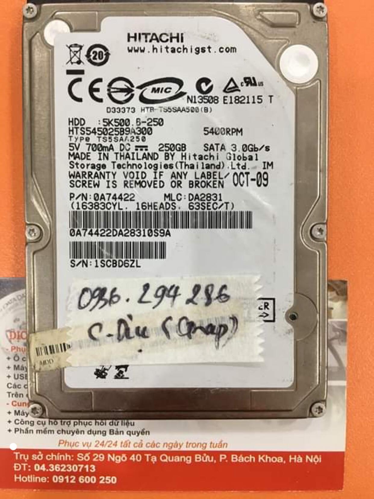 Lấy dữ liệu ổ cứng Hitachi 250GB không nhận 12/11/2019 - cuumaytinh