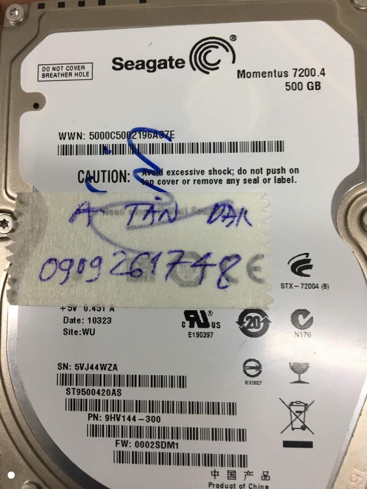 Lấy dữ liệu ổ cứng Seagate 500GB đầu đọc kém 21/11/2019 - cuumaytinh