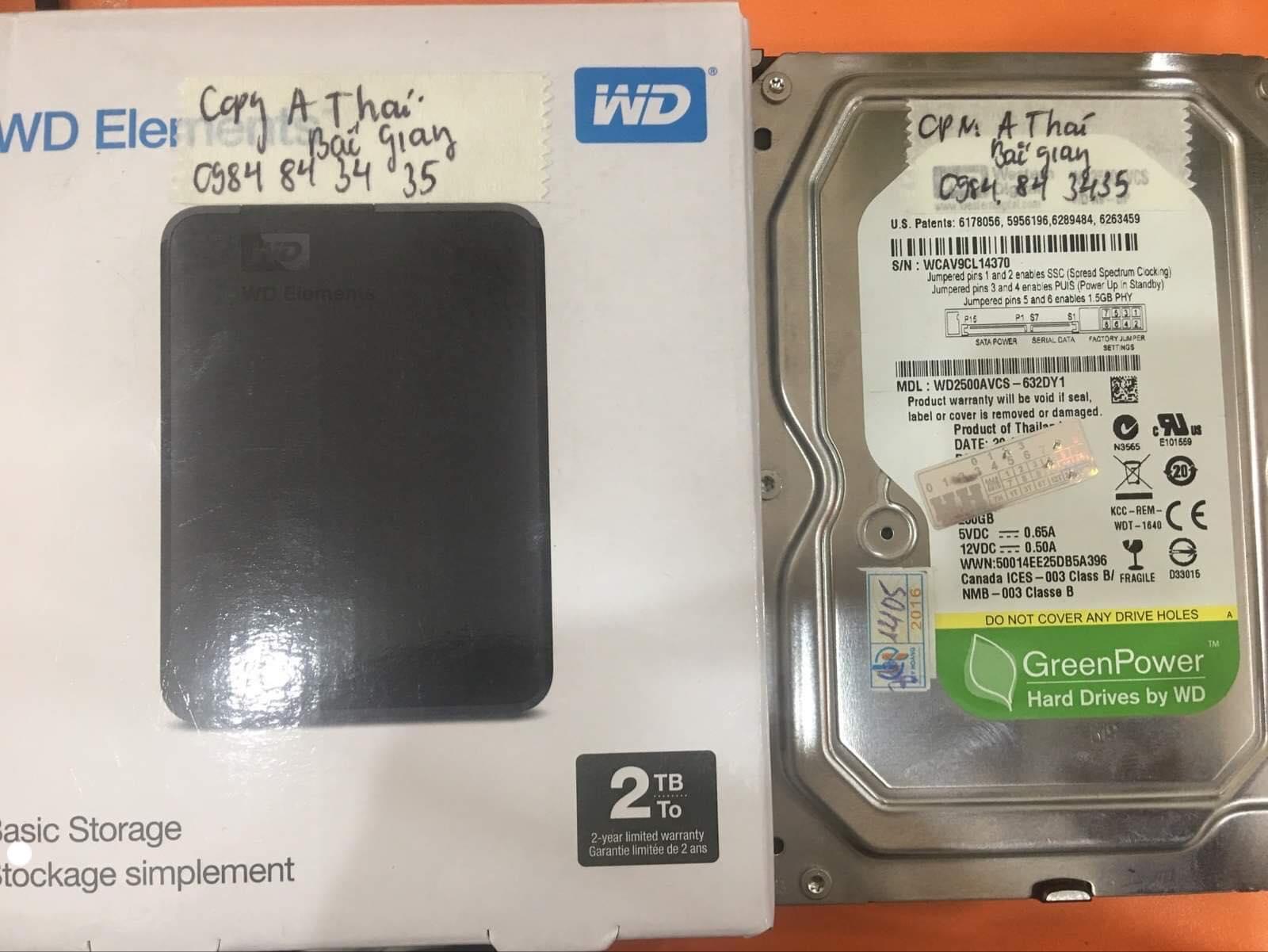 Lấy dữ liệu ổ cứng Western 250GB không nhận tại Bắc Giang 13/11/2019 - cuumaytinh
