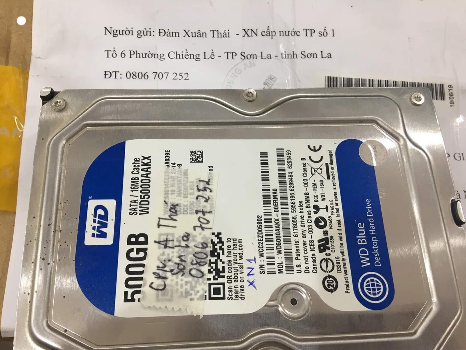 Lấy dữ liệu ổ cứng Western 500GB lỗi cơ tại Sơn La 22/11/2019 - cuumaytinh