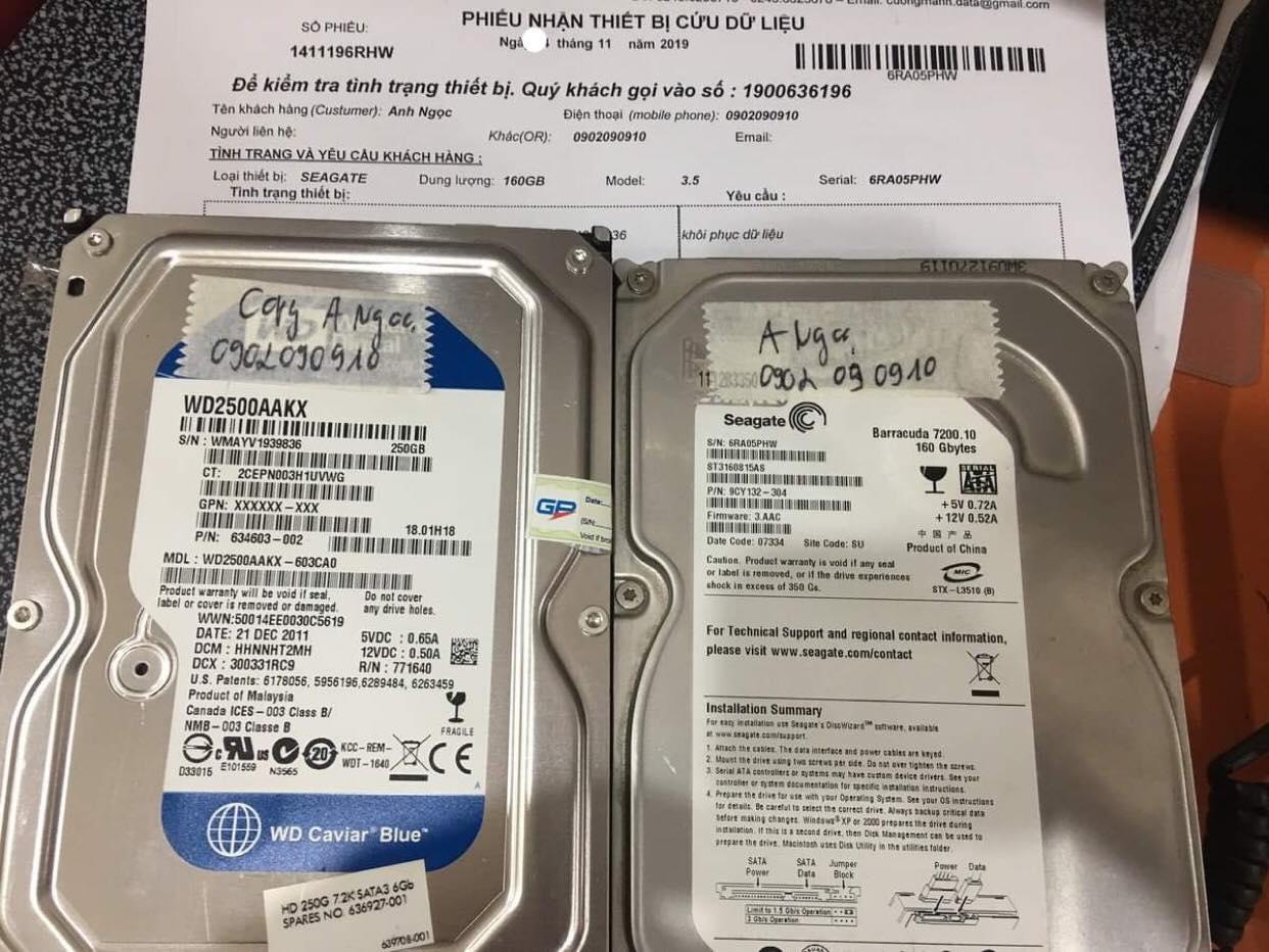 Phục hồi dữ liệu ổ cứng Seagate 160GB không nhận 21/11/2019 - cuumaytinh