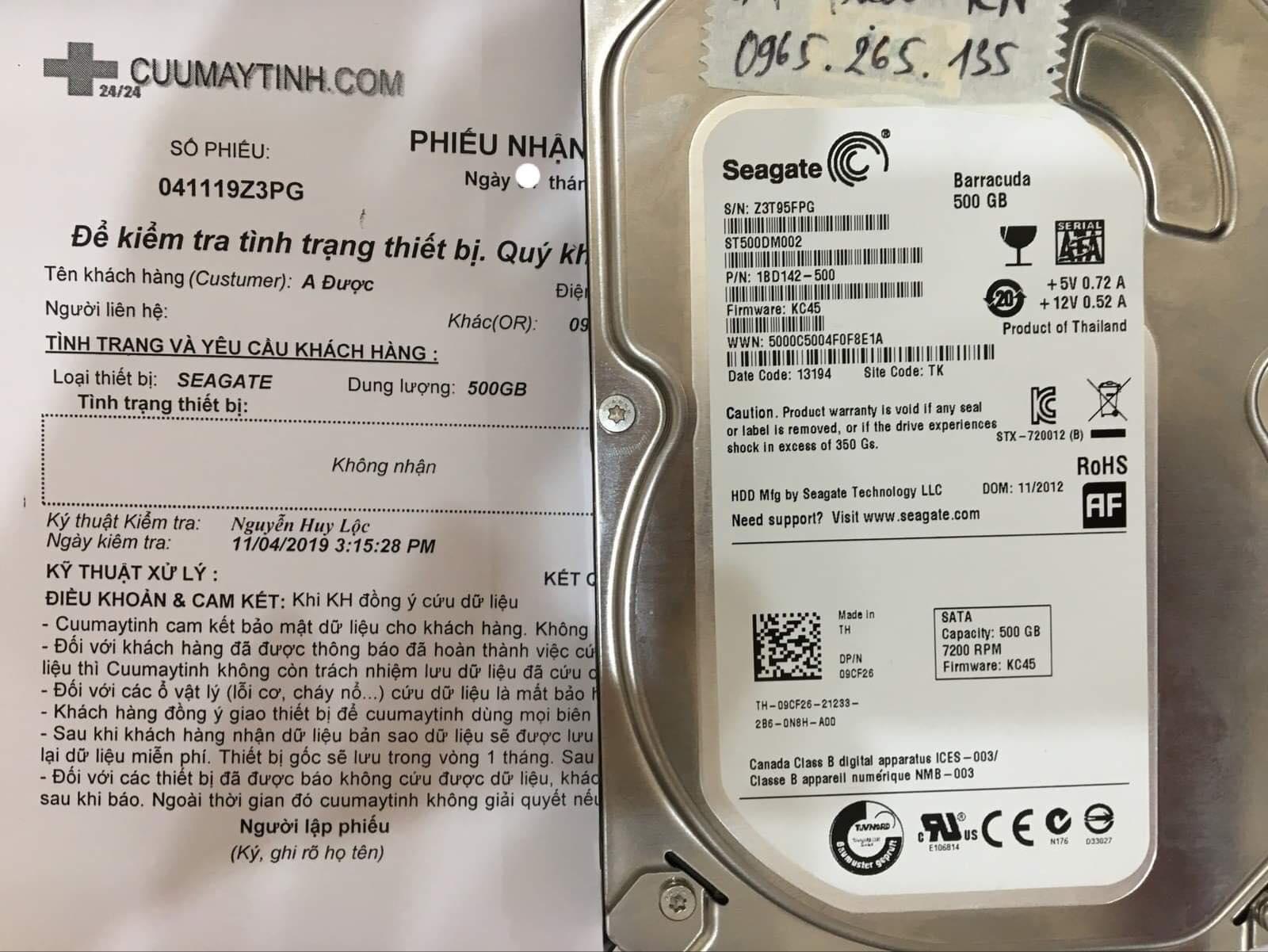 Phục hồi dữ liệu ổ cứng Seagate 500GB không nhận 13/11/2019 - cuumaytinh