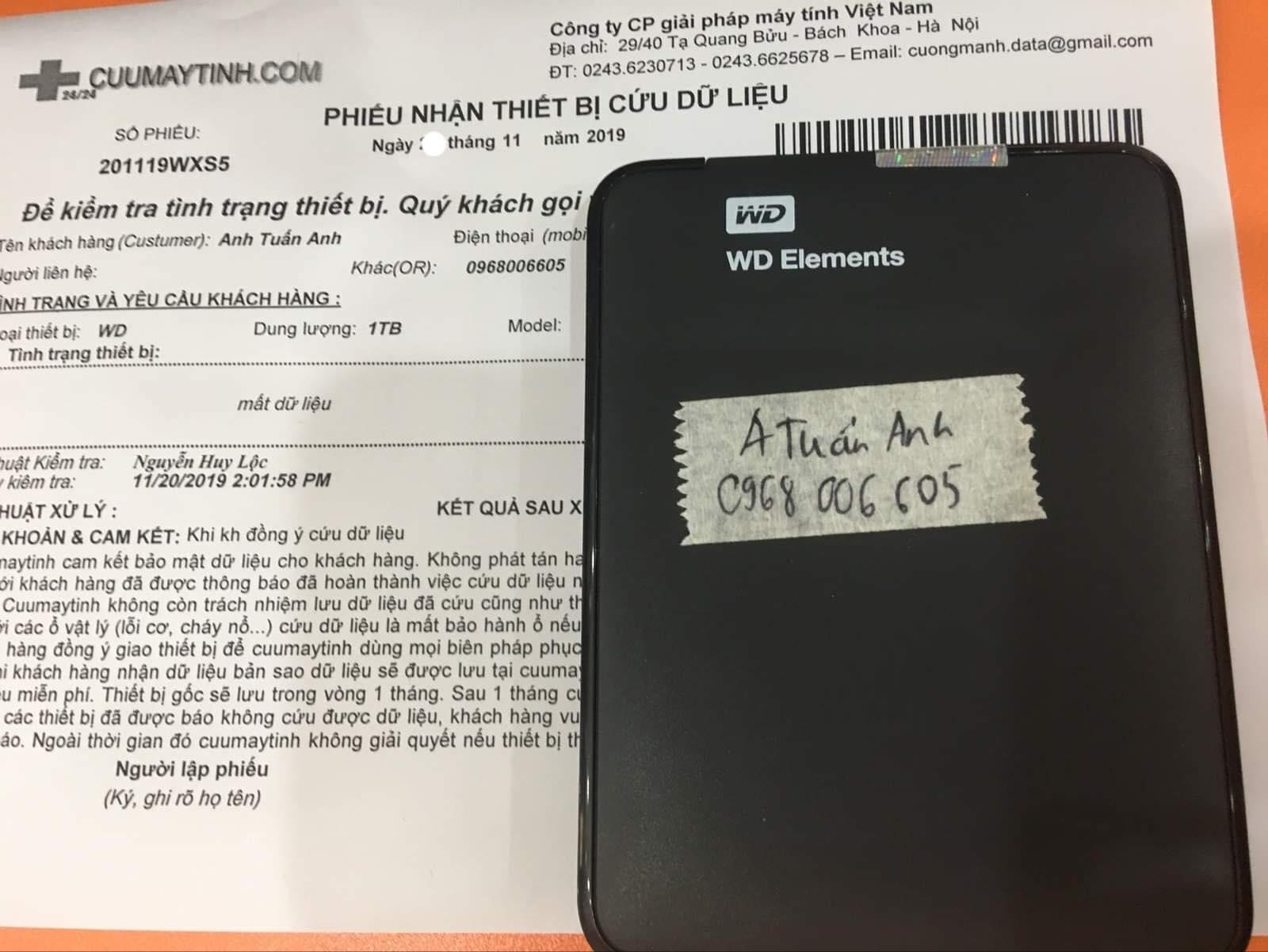 Phục hồi dữ liệu ổ cứng Western 1TB mất dữ liệu 25/11/2019 - cuumaytinh