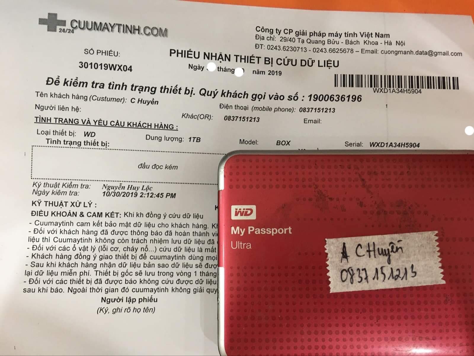 Phục hồi dữ liệu ổ cứng Western 1TB đầu đọc kém 07/11/219 - cuumaytinh