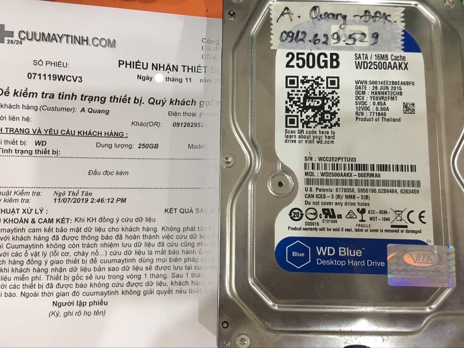 Phục hồi dữ liệu ổ cứng Western 250GB đầu đọc kém 11/11/2019 - cuumaytinh
