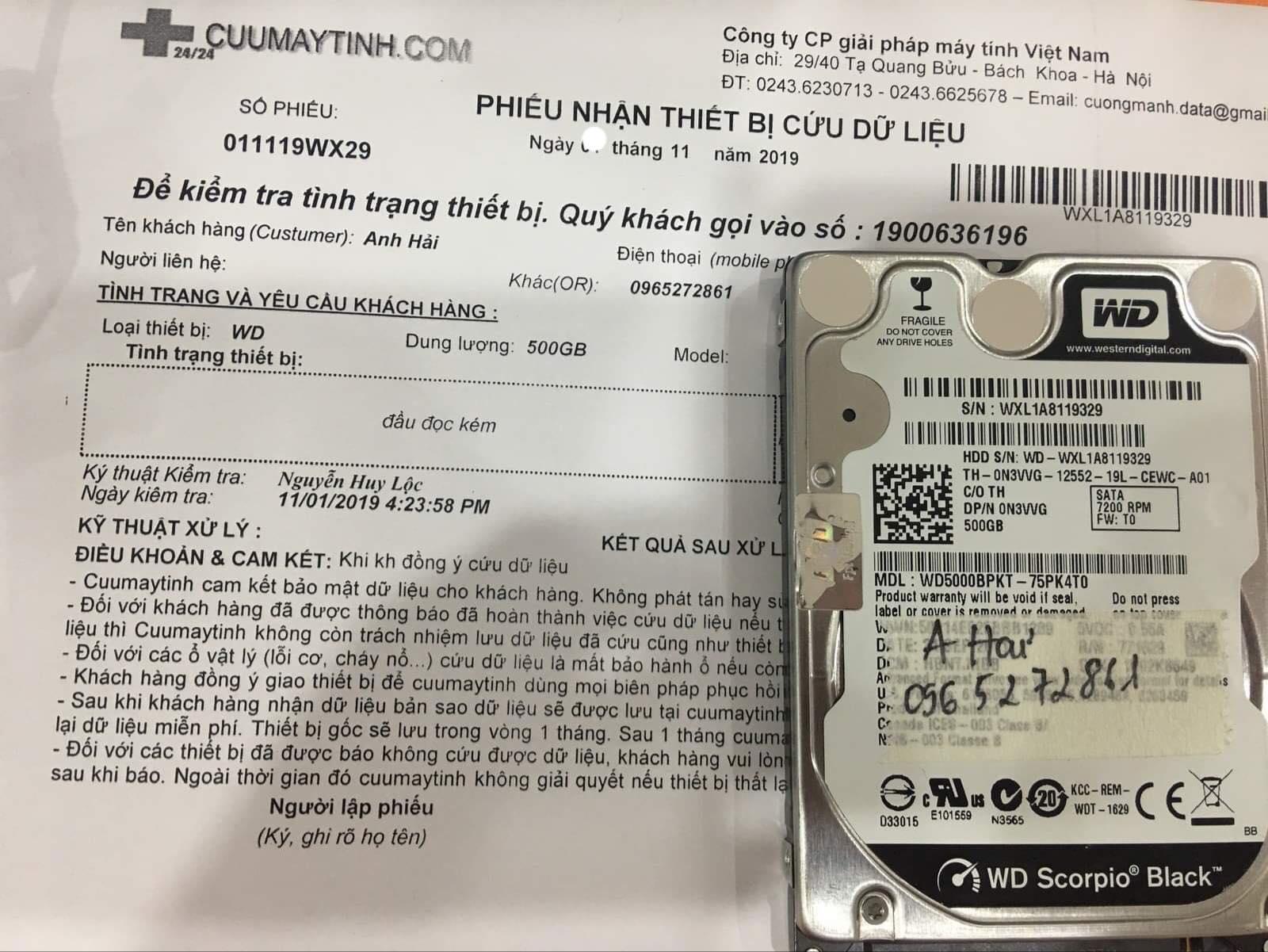 Phục hồi dữ liệu ổ cứng Western 500GB đầu đọc kém 08/11/2019 - cuumaytinh