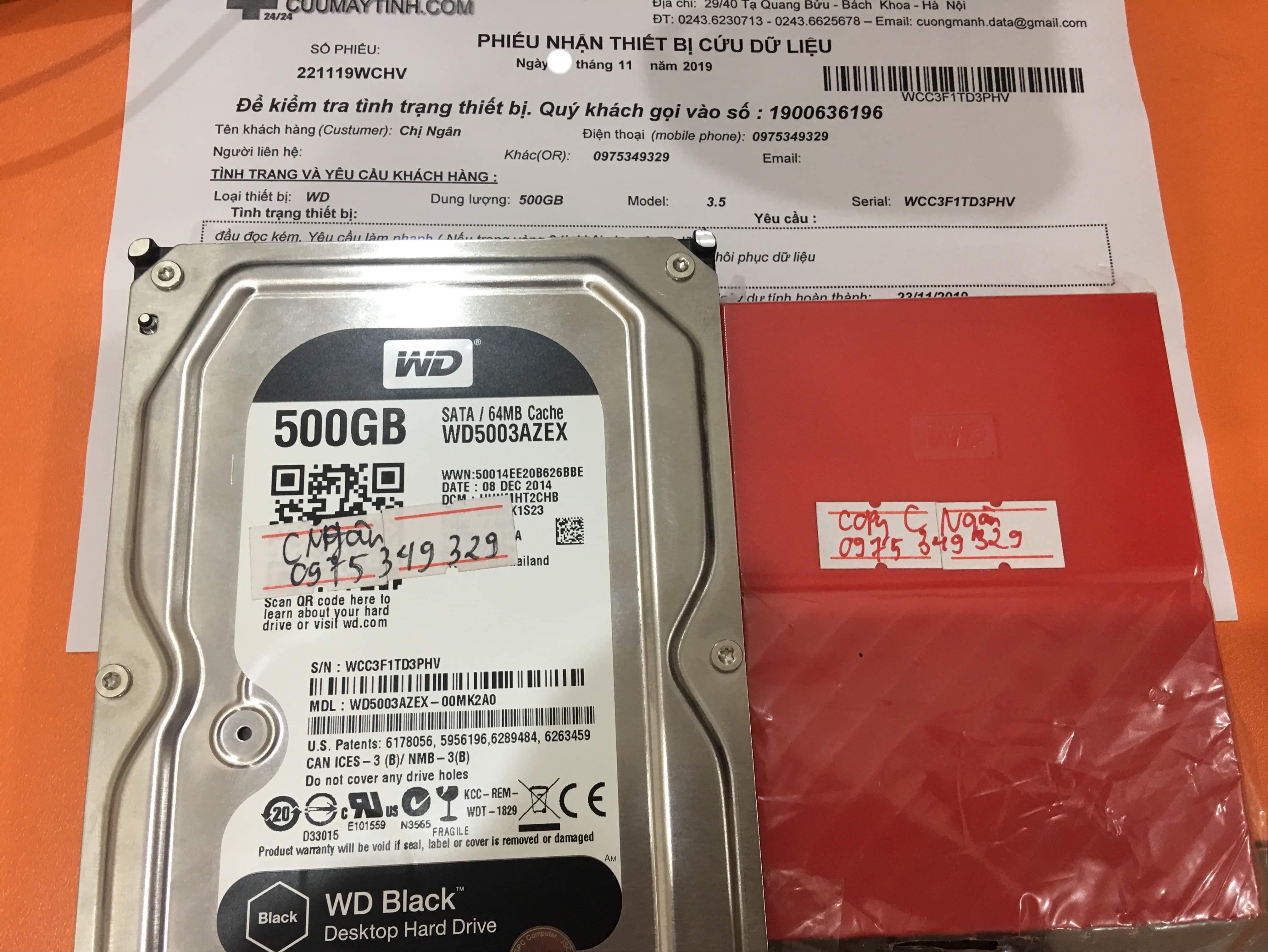 Phục hồi dữ liệu ổ cứng Western 500GB đầu đọc kém 27/11/2019 - cuumaytinh