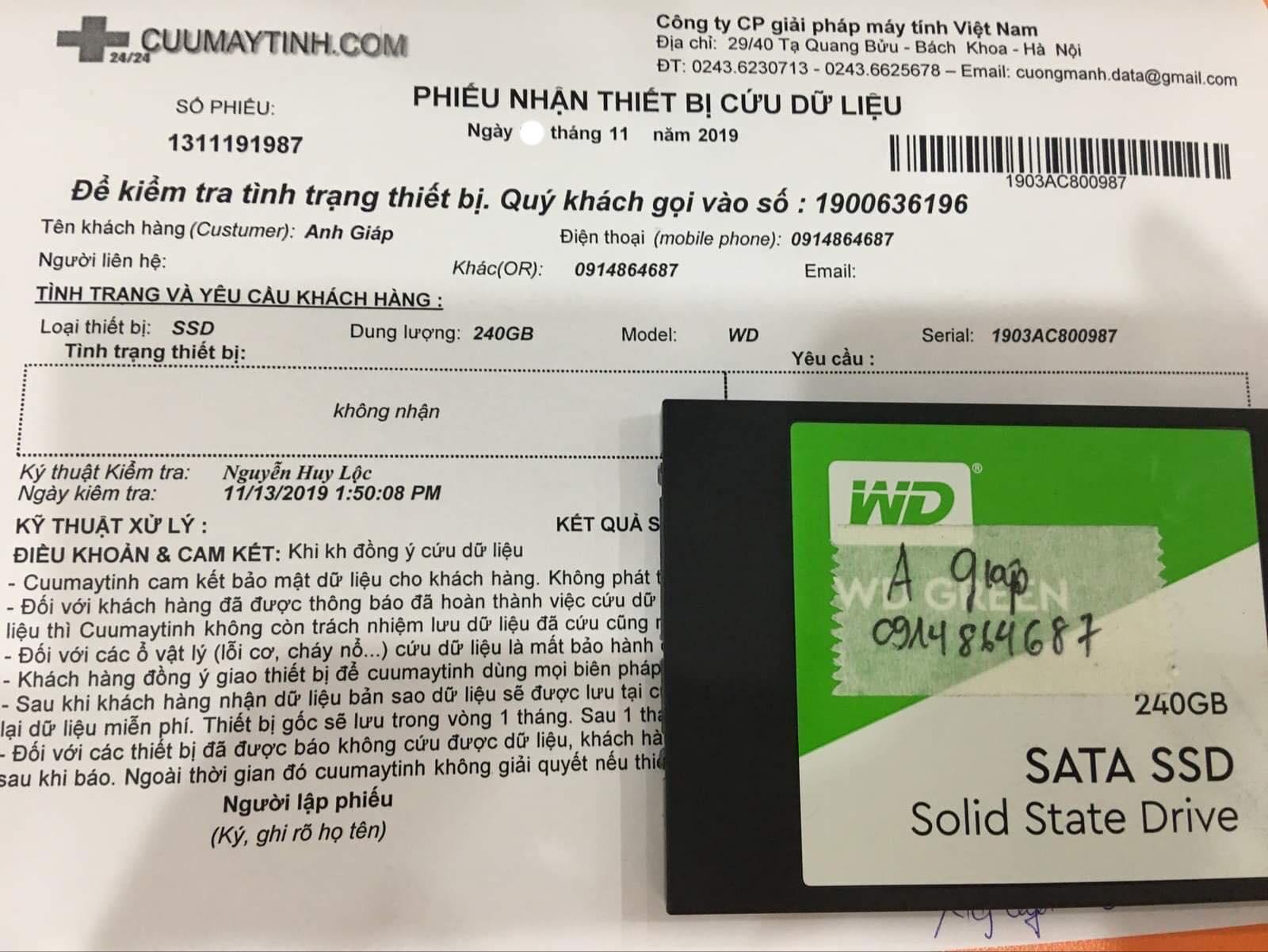 Cứu dữ liệu ổ cứng SSD Kingston 240GB không nhận 14/11/2019 - cuumaytinh