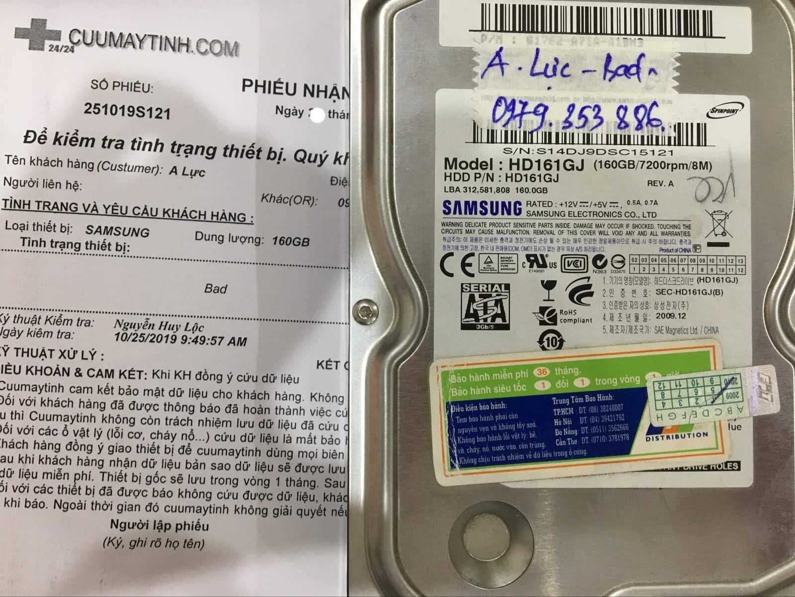 Cứu dữ liệu ổ cứng Samsung 160GB bad  06/11/2019 - cuumaytinh