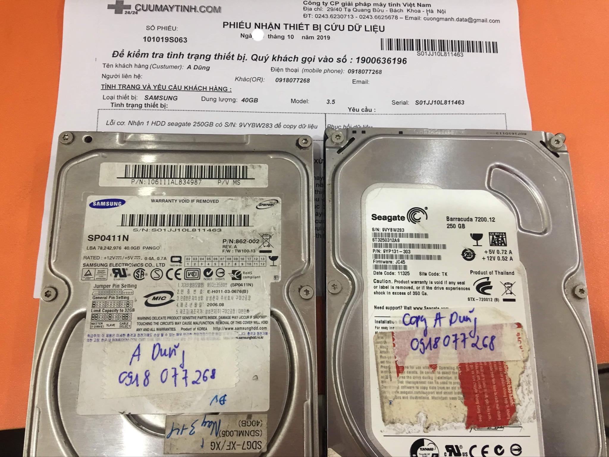 Cứu dữ liệu ổ cứng Samsung 40GB lỗi cơ 31/10/2019 - cuumaytinh