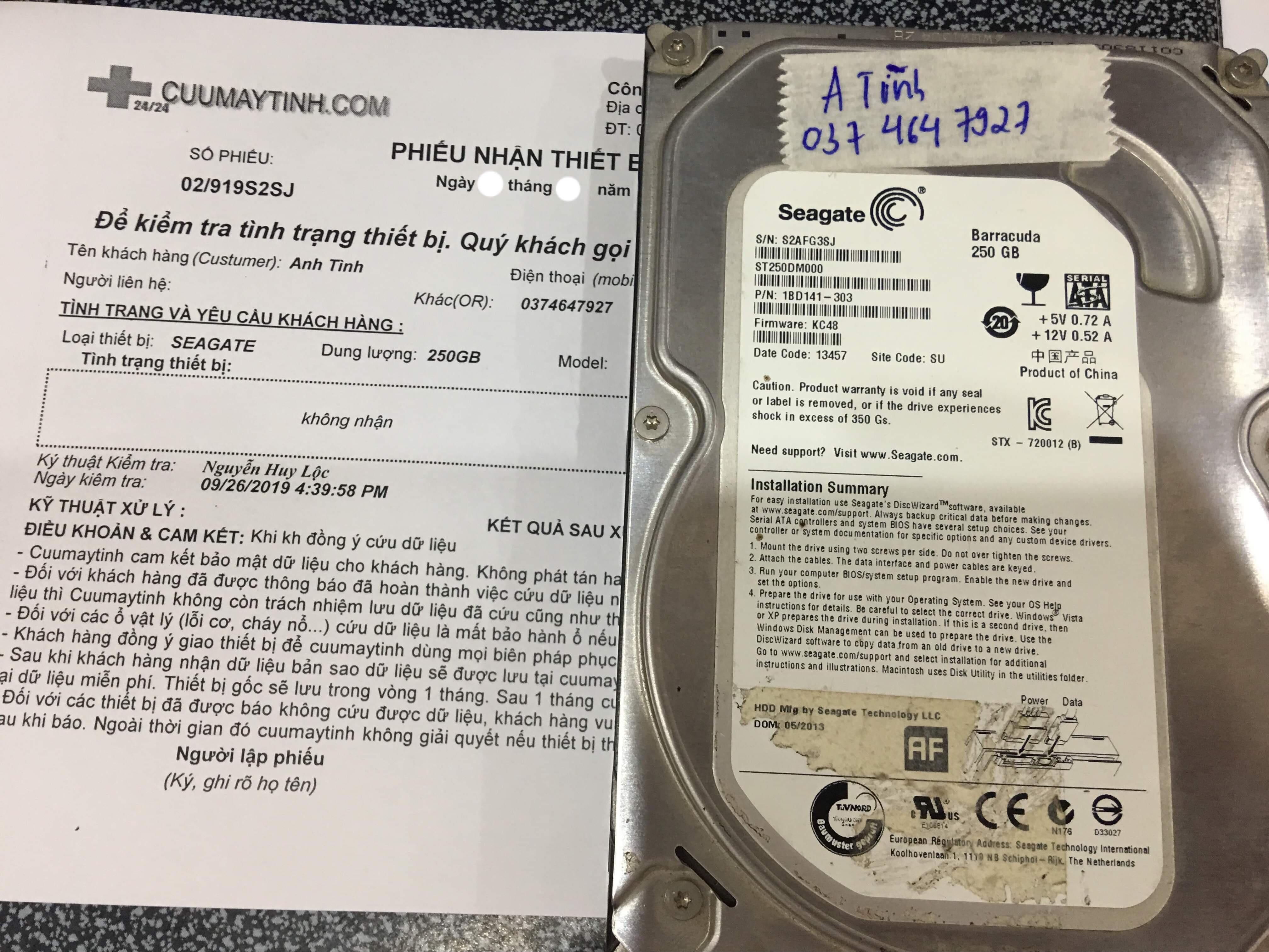 Cứu dữ liệu ổ cứng Seagate 250GB không nhận 04/11/2019 - cuumaytinh