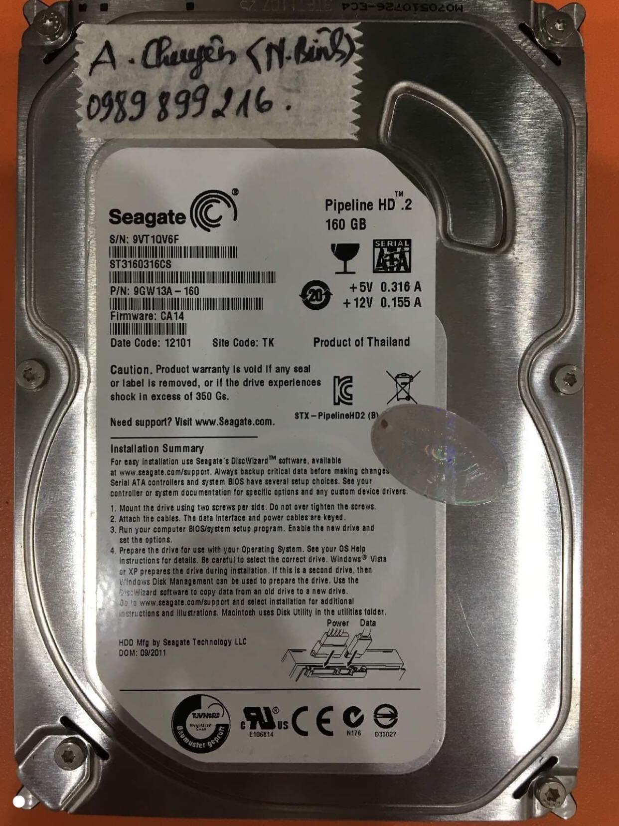 Cứu dữ liệu ổ cứng Seagate 160GB không nhận tại Ninh Bình 09/11/2019 - cuumaytinh