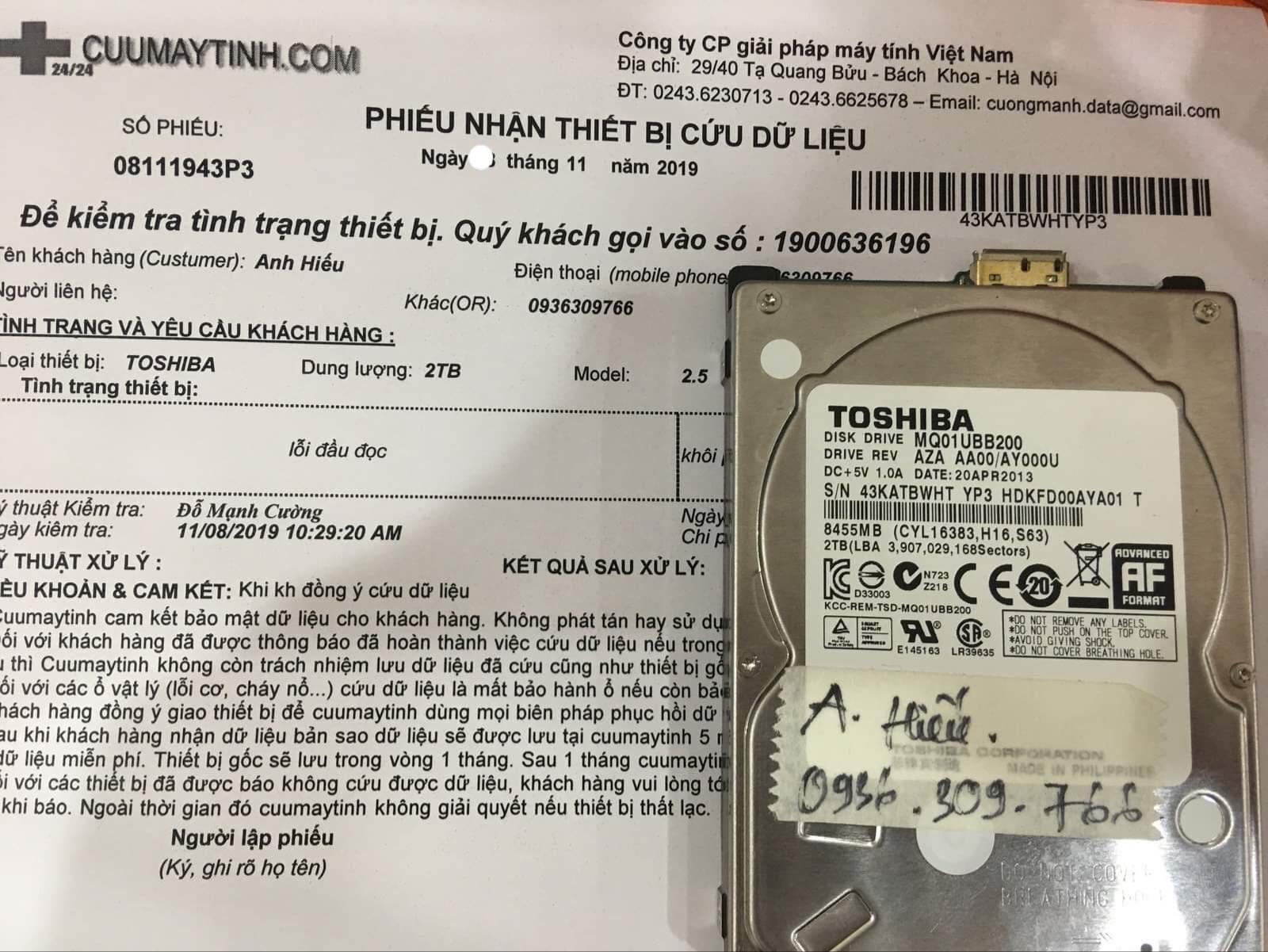 Cứu dữ liệu ổ cứng Toshiba 2TB lỗi đầu đọc 28/11/2019 - cuumaytinh