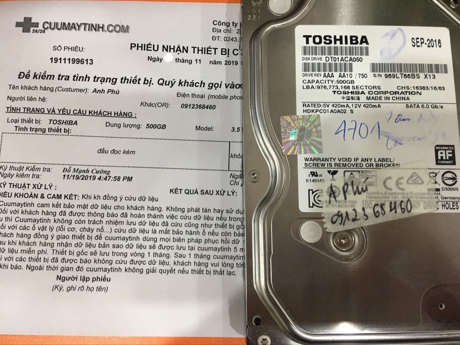 Cứu dữ liệu ổ cứng Toshiba 500GB đầu đọc kém 22/11/2019 - cuumaytinh