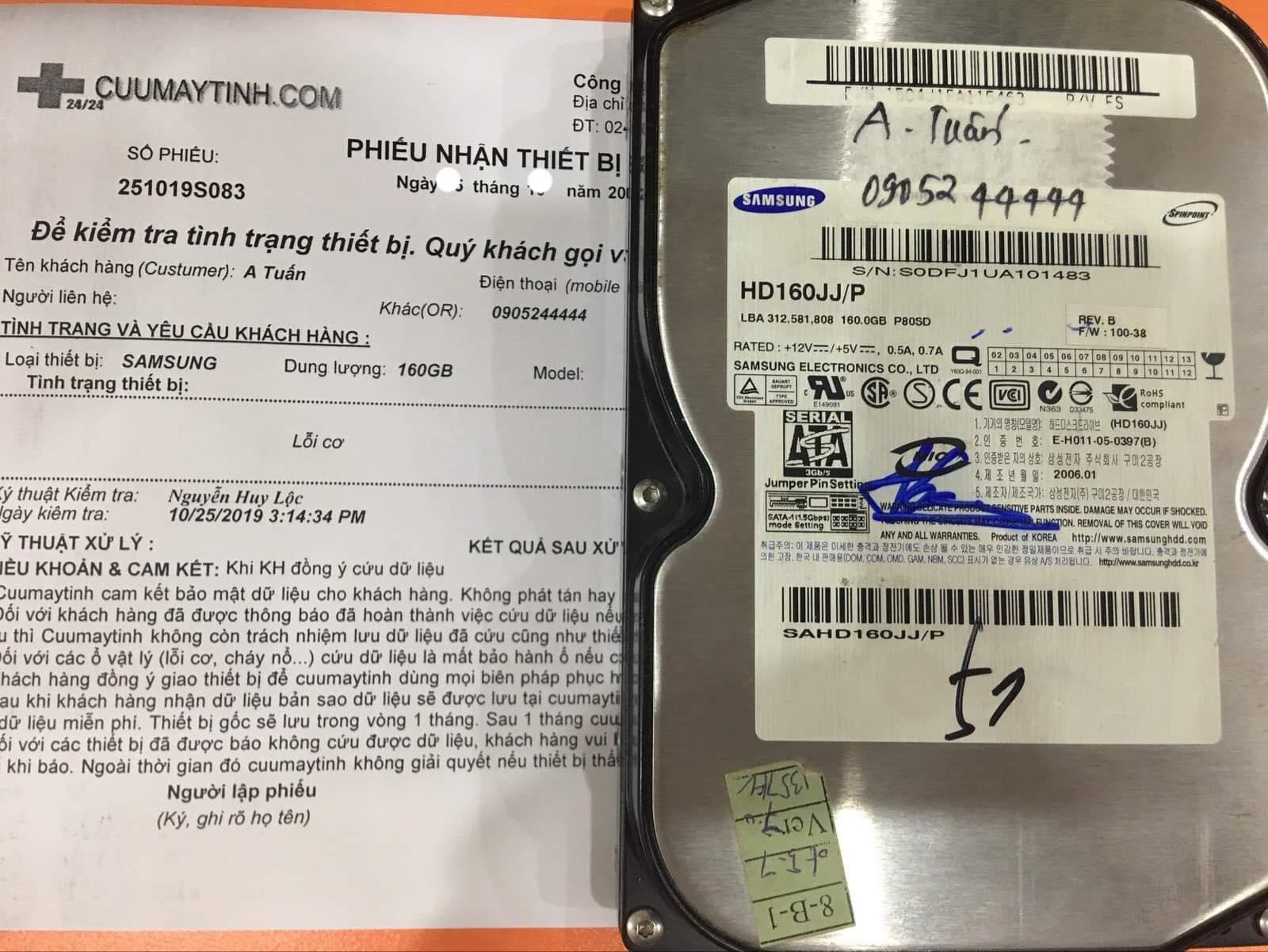 Khôi phục dữ liệu ổ cứng Samsung 160GB lỗi cơ 05/11/2019 - cuumaytinh