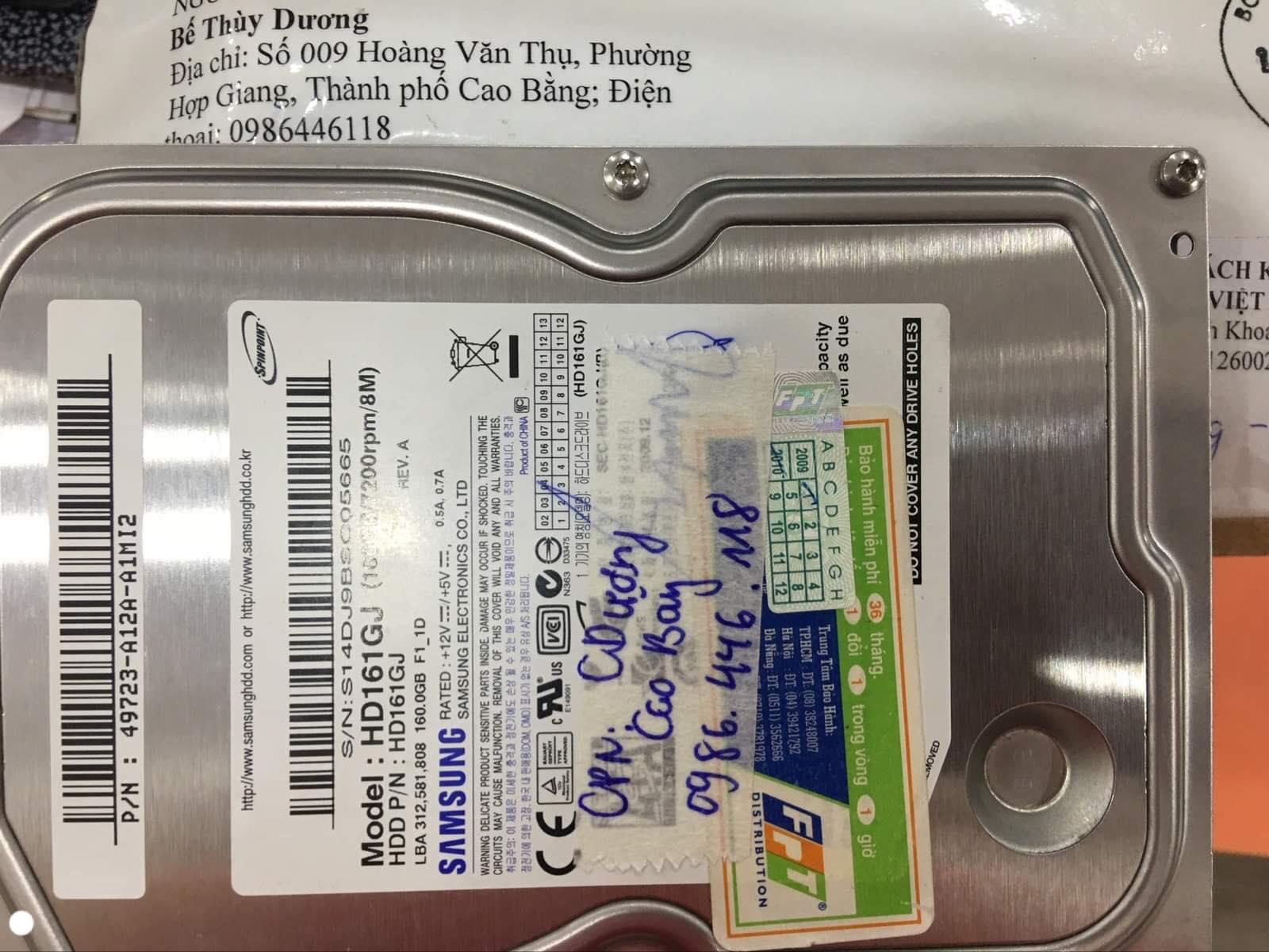 Lấy dữ liệu ổ cứng Samsung 160GB đầu đọc kém tại Cao Bằng 08/11/2019 - cuumaytinh
