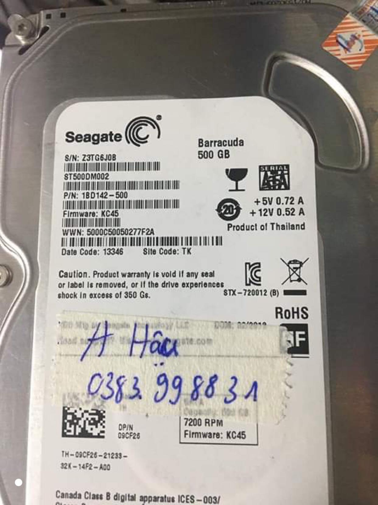 Lấy dữ liệu ổ cứng Seagate 500GB đầu đọc kém 31/10/2019 - cuumaytinh