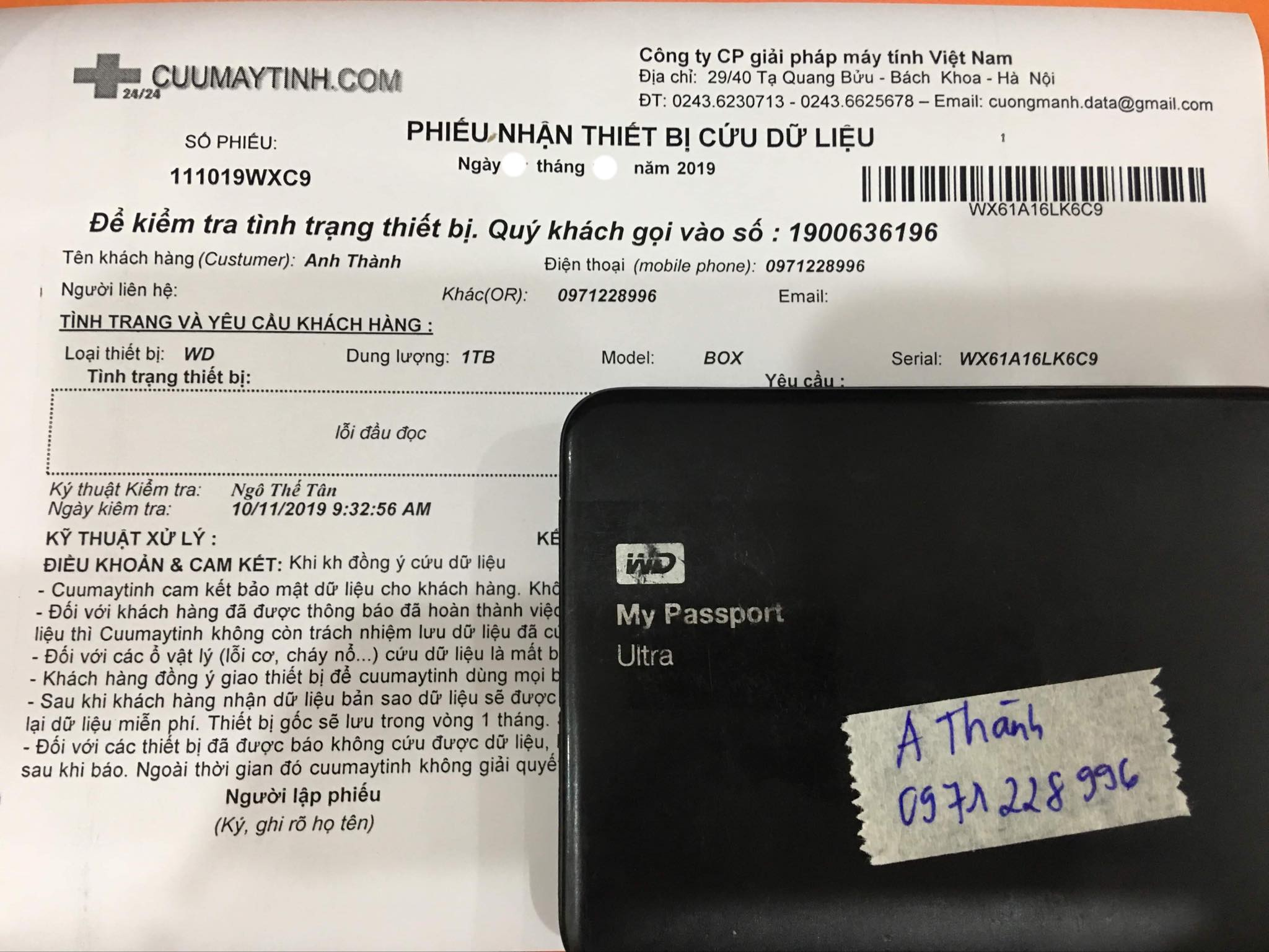 Lấy dữ liệu ổ cứng Western 1TB lỗi đầu đọc 05/11/2019 - cuumaytinh