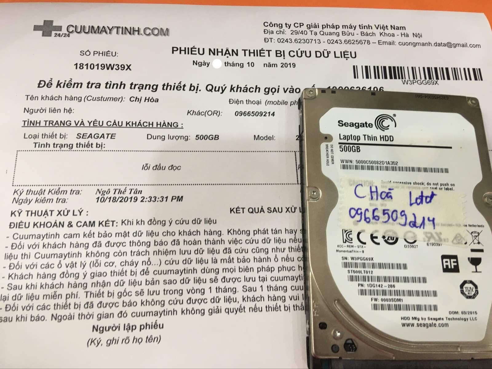 Lấy dữ liệu ổ cứng Seagate 500GB lỗi đầu đọc 30/10/2019 - cuumaytinh