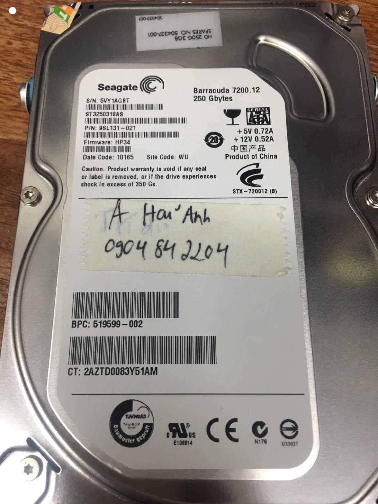 Cứu dữ liệu ổ cứng Seagate 250GB không nhận 29/11/2019 - cuumaytinh