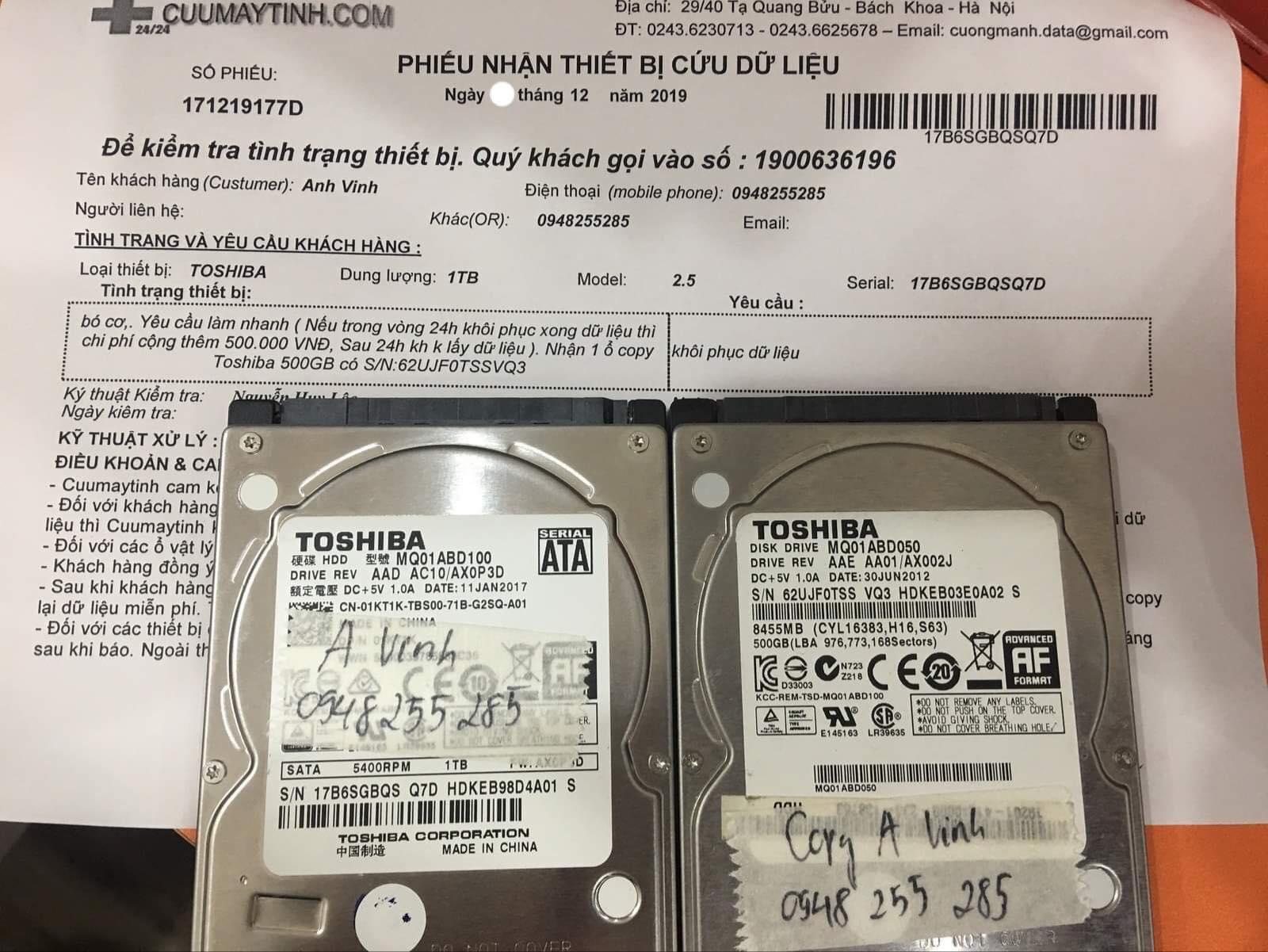 Cứu dữ liệu ổ cứng Toshiba 1TB bó cơ 21/12/2019 - cuumaytinh